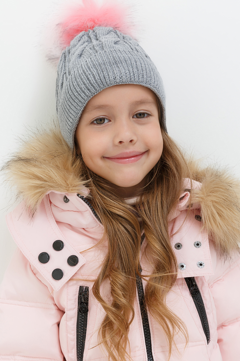Шапка для девочки Acoola Mopy, цвет: серый. 20216400018. Размер M (52)20216400018Детская шапка от Acoola выполнена из натуральной акриловой пряжи и декорирована меховым помпоном. Такая шапка согреет вашего ребенка в холодное время года.