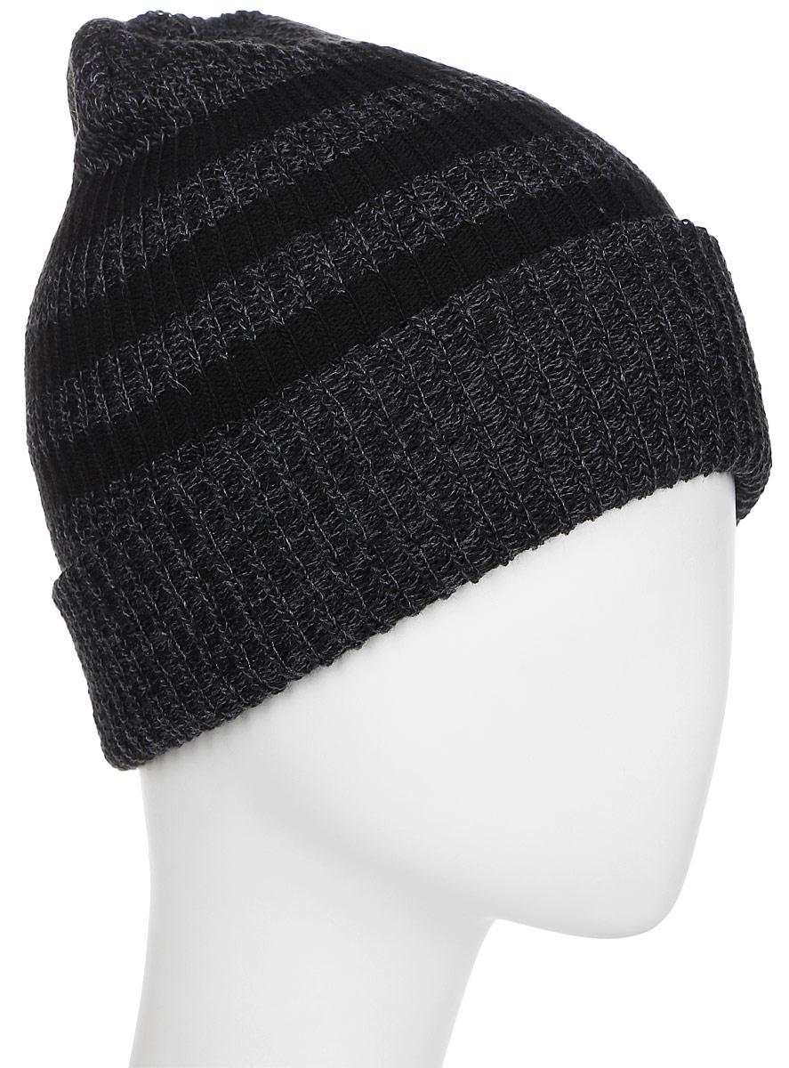 Шапка Adidas 3S Woolie, цвет: черный, серый. BR9921. Размер 58/60BR9921Шапка Adidas 3S Woolie выполнена из полиамида. Модель дополнена отворотом.
