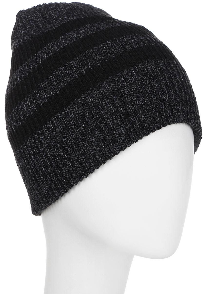 Шапка Adidas 3S Beanie, цвет: черный, серый. BR9927. Размер 54/55BR9927Стильная вязаная шапка от Adidas с меланжевым эффектом выполнена из полиакрила и оформлена тремя контрастными полосками. Такая шапка будет хорошо смотреться с любой верхней одеждой и позволит создать модный образ.