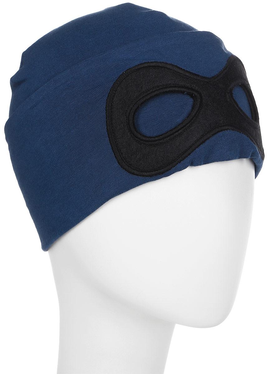 Шапка для мальчика Tom Tailor, цвет: синий. 0221631.00.82_6758. Размер 50/520221631.00.82_6758Шапка для мальчика от Tom Tailor выполнена из эластичного хлопкового трикотажа с добавлением вискозы. Спереди шапка оформлена имитацией маски.