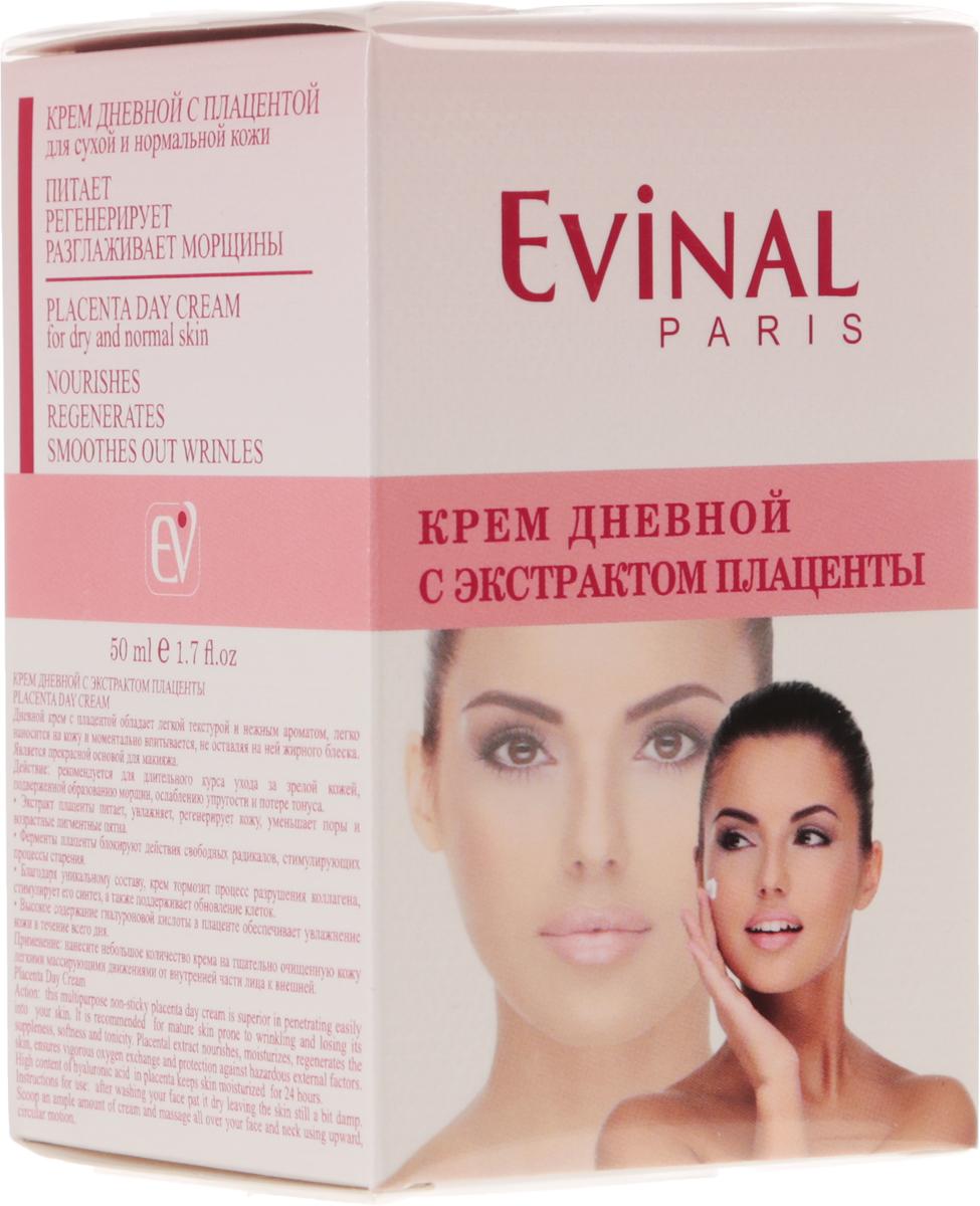 Крем для лица Evinal, с экстрактом плаценты, дневной, для сухой и нормальной кожи, 50 мл0974Дневной крем Evinal с плацентой рекомендуется в качестве ухода за зрелой кожей лица, подверженнойобразованию морщин, ослаблению упругости, потере мягкости и тонуса. Плацента питает, увлажняет,регенерирует кожный покров, обеспечивает мощный кислородный обмен и защиту от воздействия вредныхфакторов окружающей среды.Ферменты плаценты блокируют действия свободных радикалов, стимулирующих процессы старения. Благодаряуникальному составу, крем с плацентой тормозит процесс разрушения коллагена, стимулирует его синтез, атакже поддерживает обновление клеток. Характеристики: Объем: 50 мл.Производитель: Россия. Артикул: 0974.Товар сертифицирован. Уважаемые клиенты!Обращаем ваше внимание на возможные изменения в дизайне упаковки. Качественные характеристики товараостаются неизменными. Поставка осуществляется в зависимости от наличия на складе.
