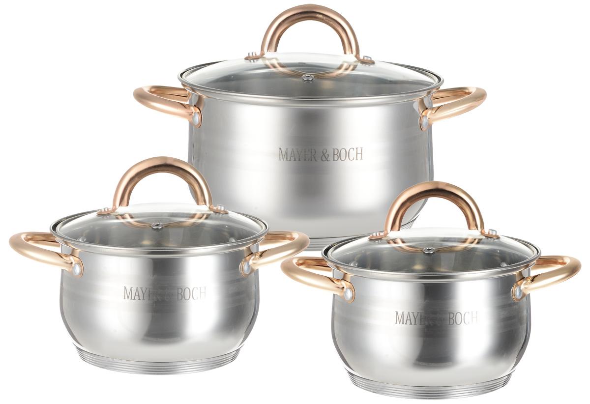 Набор кастрюль Mayer & Boch, 6 предметов. 2567225672Набор Mayer & Boch состоит из трех кастрюль с крышками. Изделия выполнены из высококачественной многослойной нержавеющей стали 18/10 с зеркальной и матовой полировкой. Этот набор посуды предназначен для здорового и экологичного приготовления пищи. Кастрюли имеют многослойное капсульное дно с алюминиевым основанием, которое быстро и равномерно накапливает тепло и также равномерно передает его пище. Внутренняя поверхность идеально ровная, что значительно облегчает мытье. Крышки, выполненные из термостойкого стекла, имеют отверстие для пара и металлический обод. Крышки плотно прилегают к краям посуды, предотвращая проливание жидкости и сохраняя аромат блюд. Также изделия снабжены эргономичными ручками из стали. Можно использовать на всех типах плит, включая индукционные. Можно мыть в посудомоечной машине. Объем кастрюль: 2,1 л, 2,1 л, 3,9 л.Диаметр кастрюль: 16 см, 16 см, 20 см.Высота стенок кастрюль: 10,5 см, 12,5 см, 12,5 см. Ширина кастрюль с учетом ручек: 25 см, 28 см.