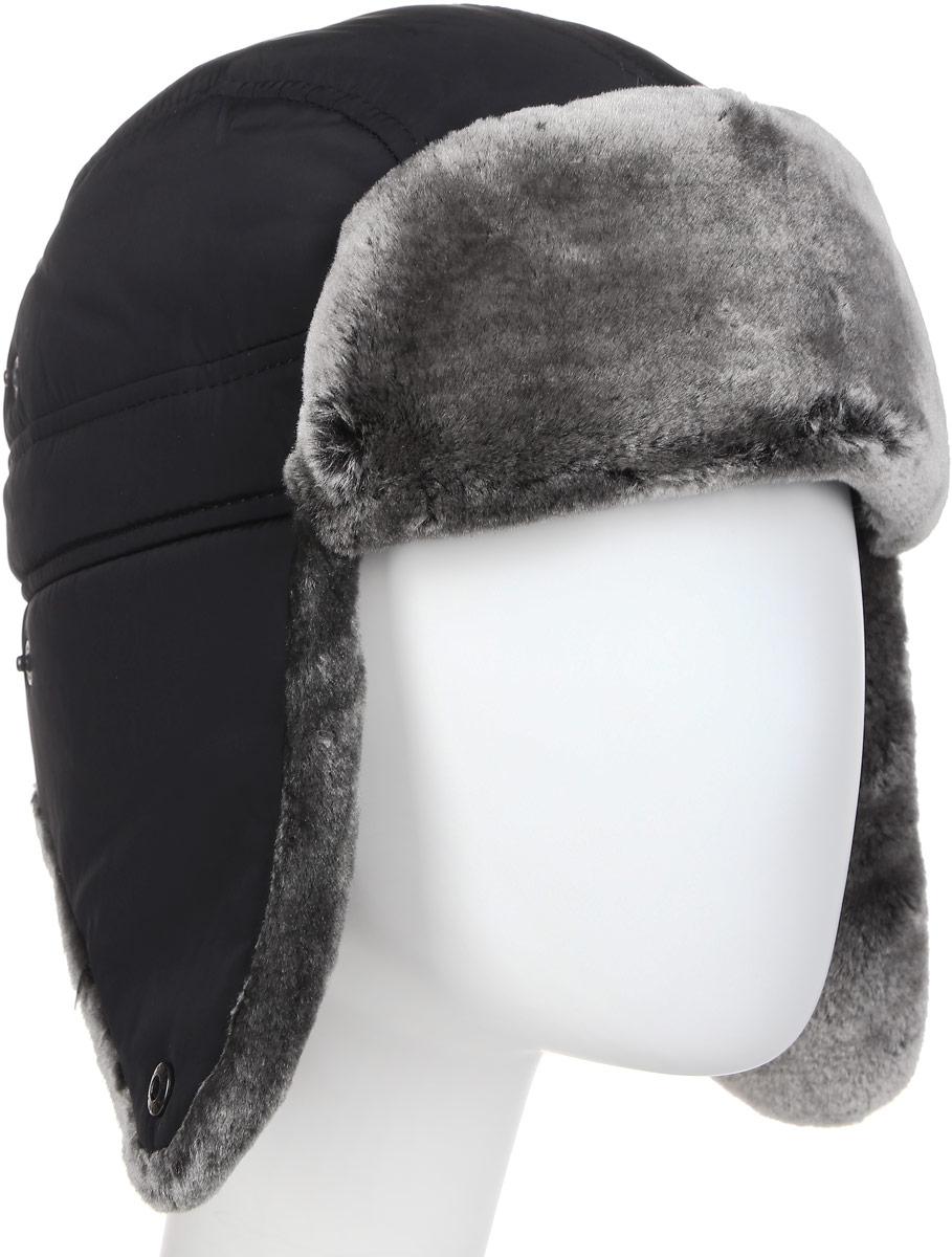Шапка-ушанка мужская Canoe Chkalov, цвет: черный, темно-серый. 3441787. Размер 56/59