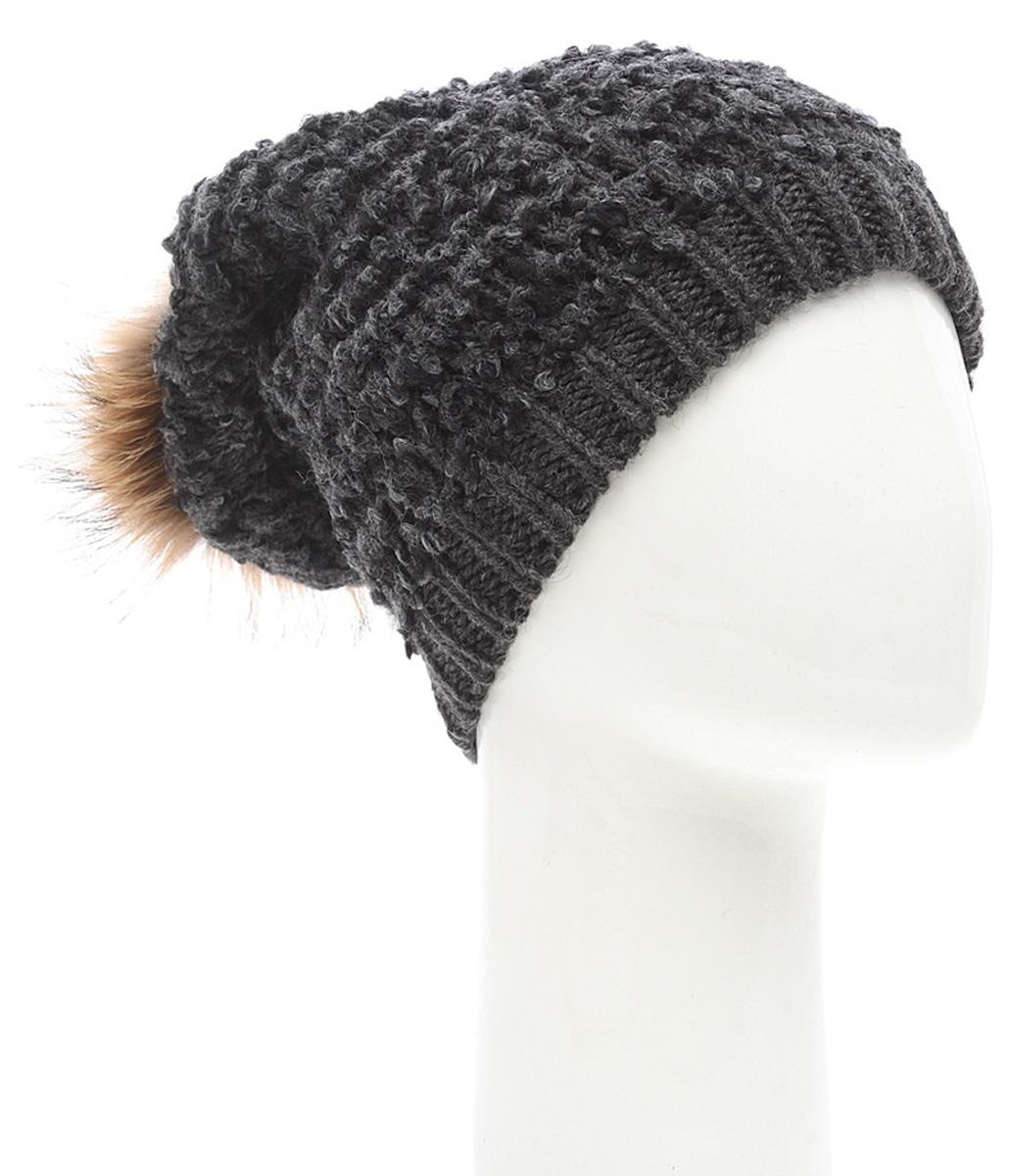 Шапка женская Marhatter, цвет: темно-серый. Размер 56/58. MWH6962/2MWH6962/2Стильная шапка с помпоном из натурального меха, выполнена из ангоровой пряжи. Модель очень актуальна для тех, кто ценит комфорт, стиль и красоту.