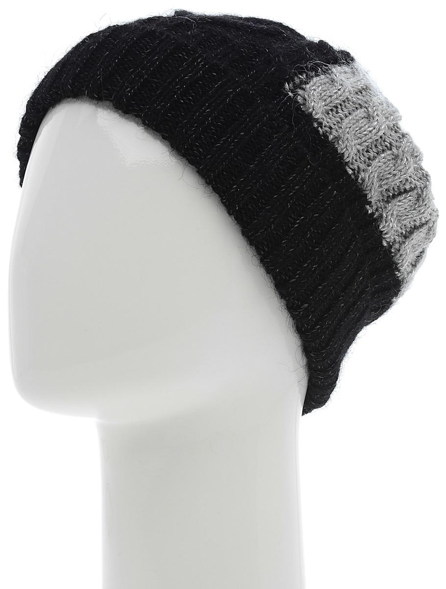 Шапка женская Marhatter, цвет: черный, серый. Размер 56/58. MWH5627/2MWH5627/2Отличная шапка с отворотом, выполнена из высококачественного материала. Модель очень актуальна для тех, кто ценит комфорт, стиль и красоту. Она мягкая и приятная на ощупь, обладает хорошими дышащими свойствами и максимально удерживает тепло. Изделие оформлено узором.