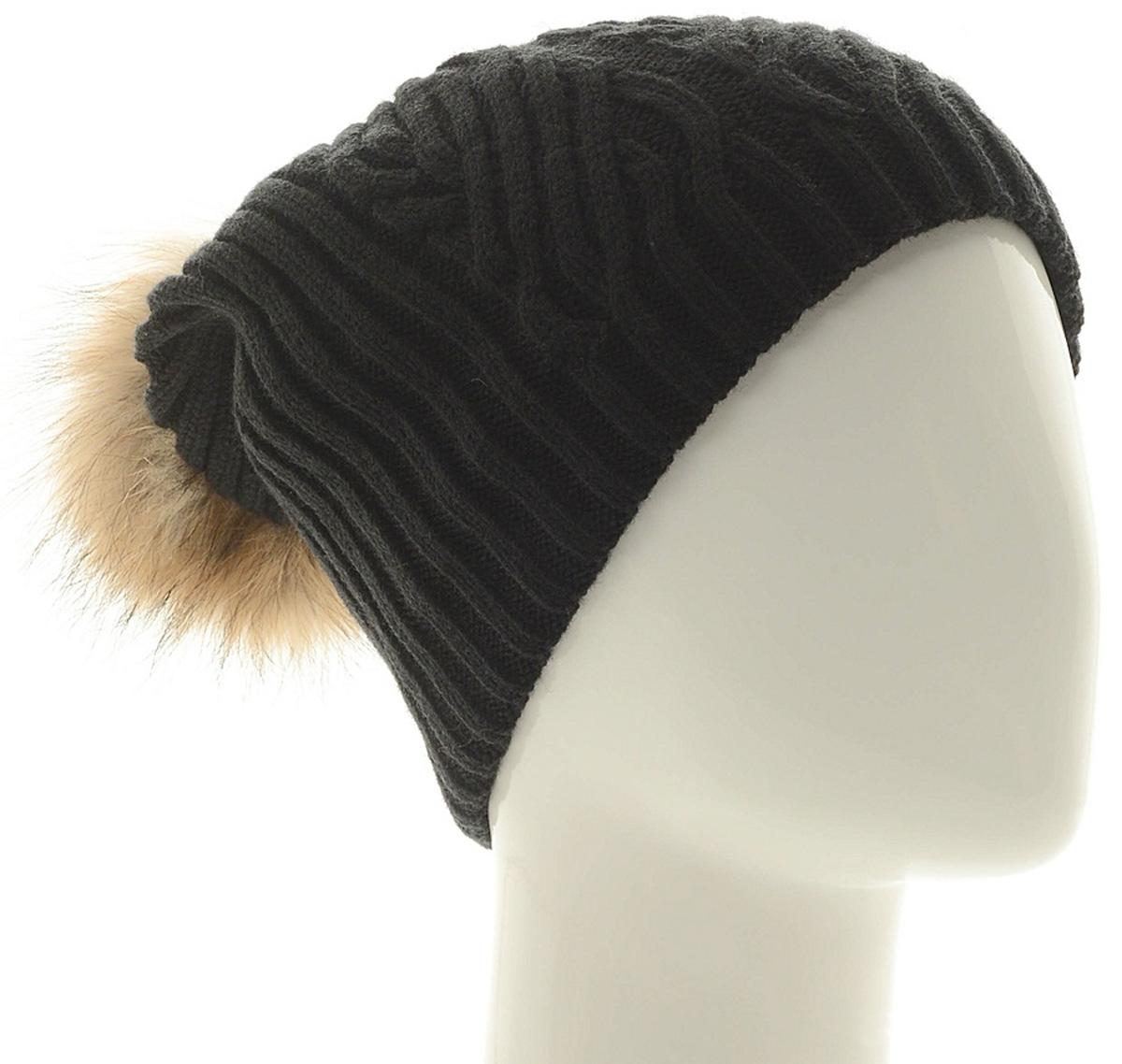 Шапка женская Marhatter, цвет: черный. MLH6882/3. Размер 56/58MLH6882/3Стильная шапка с помпоном добавит уникальность вашему образу. Данная модель мягкая и комфортная на ощупь. Модель на полном флисе.