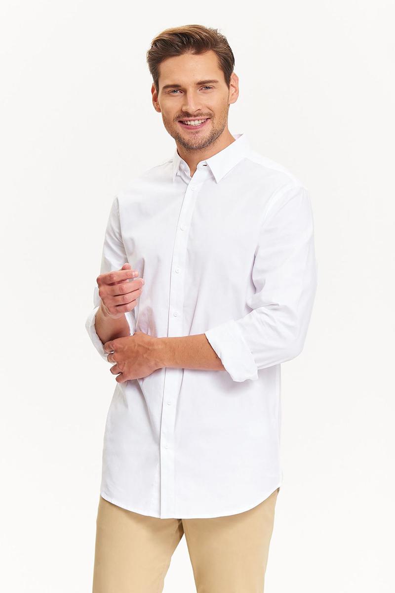 Рубашка мужская Top Secret, цвет: белый. SKL2392BI. Размер 40/41 (48)SKL2392BIРубашка мужская Top Secret выполнена из 100% хлопка. Модель с отложным воротником, длинными рукавами и полукруглым низом застегивается на пуговицы. Такая рубашка прекрасно дополнит повседневный или праздничный образ и займет достойное место в вашем гардеробе.