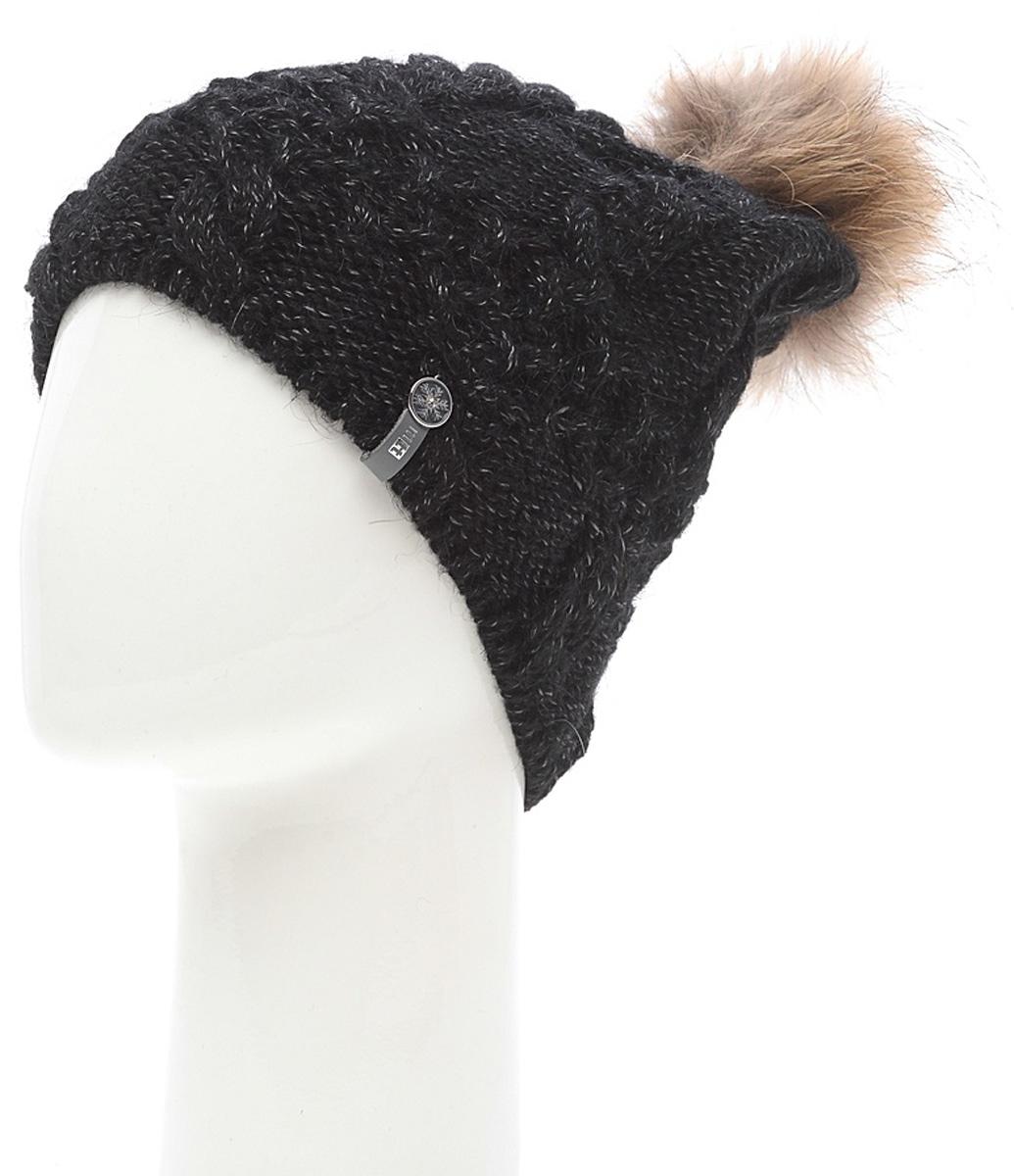 Шапка женская Marhatter, цвет: черный. MWH6759/2. Размер 56/58MWH6759/2Стильная шапка с помпоном добавит уникальность вашему образу. Данная модель мягкая и комфортная на ощупь. Модель на полном флисе.