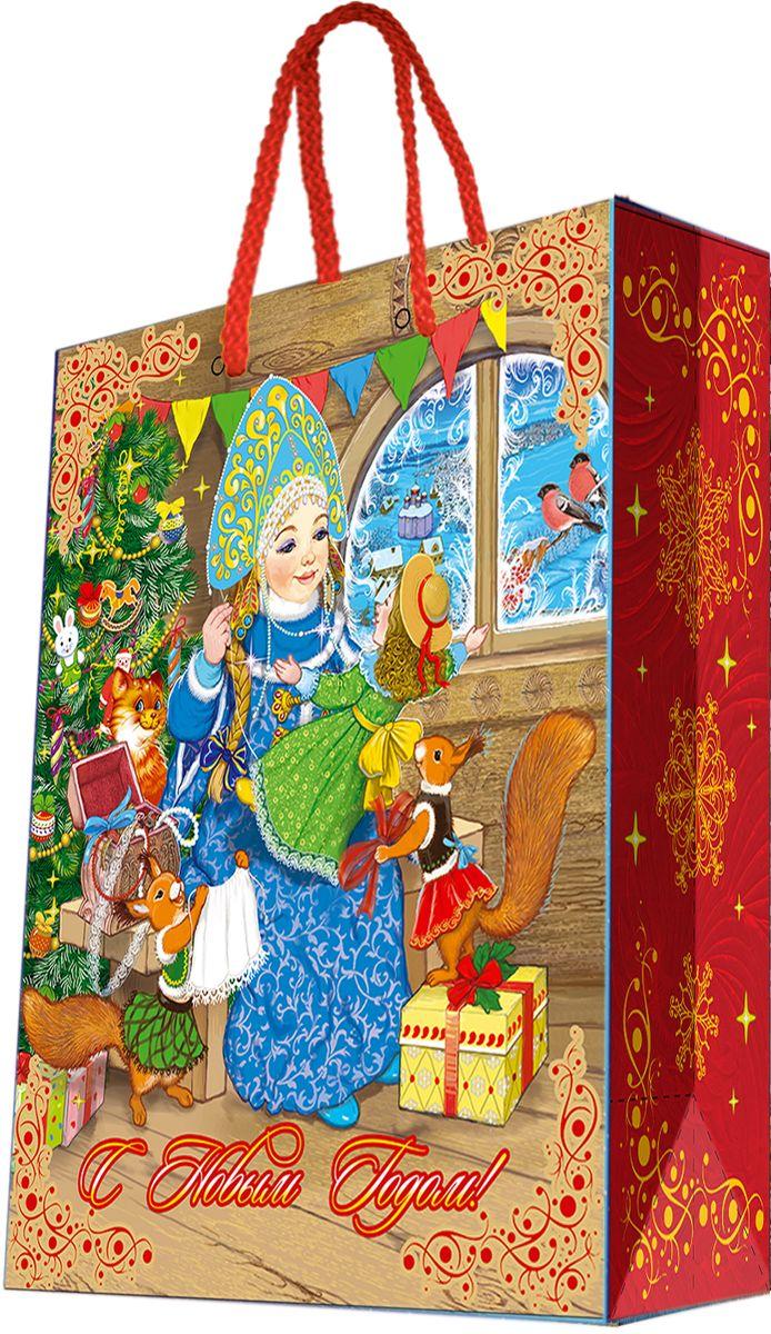 Пакет подарочный Magic Time Снегурка за работой, цвет: красный, светло-коричневый, синий, 26 х 32,4 х 12,7 см75314Новогодний подарочный пакет Снегурка за работой от Magic Time - это стильный и практичный вариант упаковки подарка к любимому всеми празднику. Авторский дизайн, красочное изображение, тематический рисунок - все слагаемые оригинального оформления подарка. Окружите близких людей вниманием и заботой, вручив презент в нарядном, праздничном оформлении. Пакет с матовой ламинацией изготовлен из плотной бумаги. Для удобства переноски имеются две веревочные ручки. Дно укреплено картоном.