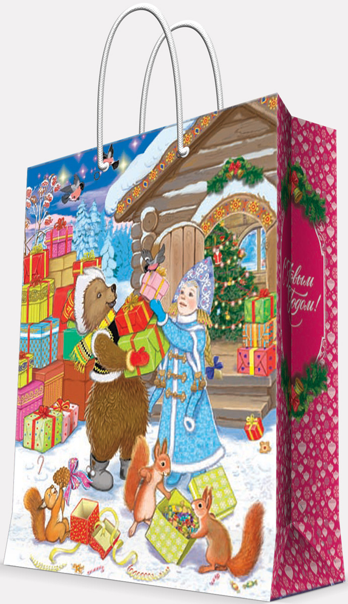 Пакет подарочный Magic Time Зверята и снегурка, цвет: голубой, коричневый, белый, 26 х 32,4 х 12,7 см75320Новогодний подарочный пакет Зверята и Снегурка от Magic Time - это стильный и практичный вариант упаковки подарка к любимому всеми празднику. Авторский дизайн, красочное изображение, тематический рисунок - все слагаемые оригинального оформления подарка. Окружите близких людей вниманием и заботой, вручив презент в нарядном, праздничном оформлении. Пакет с матовой ламинацией изготовлен из плотной бумаги. Для удобства переноски имеются две веревочные ручки. Дно укреплено картоном.