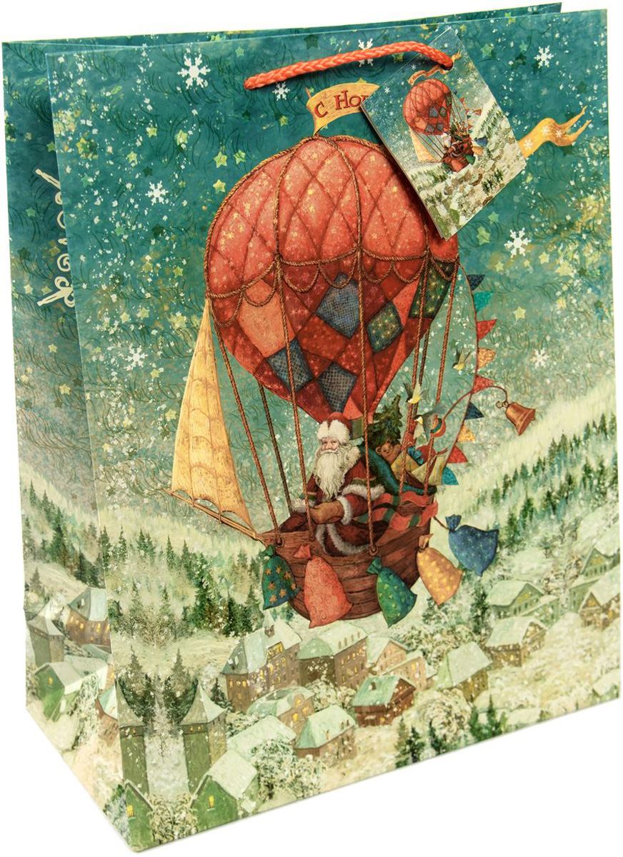 Пакет подарочный Magic Time Доставка подарков, цвет: бежевый, белый, светло-зеленый, 26 х 32,4 х 12,7 см75323Новогодний подарочный пакет Доставка подарков от Magic Time - это стильный и практичный вариант упаковки подарка к любимому всеми празднику. Авторский дизайн, красочное изображение, тематический рисунок - все слагаемые оригинального оформления подарка. Окружите близких людей вниманием и заботой, вручив презент в нарядном, праздничном оформлении. Пакет с матовой ламинацией изготовлен из плотной бумаги. Для удобства переноски имеются две веревочные ручки. Дно укреплено картоном.
