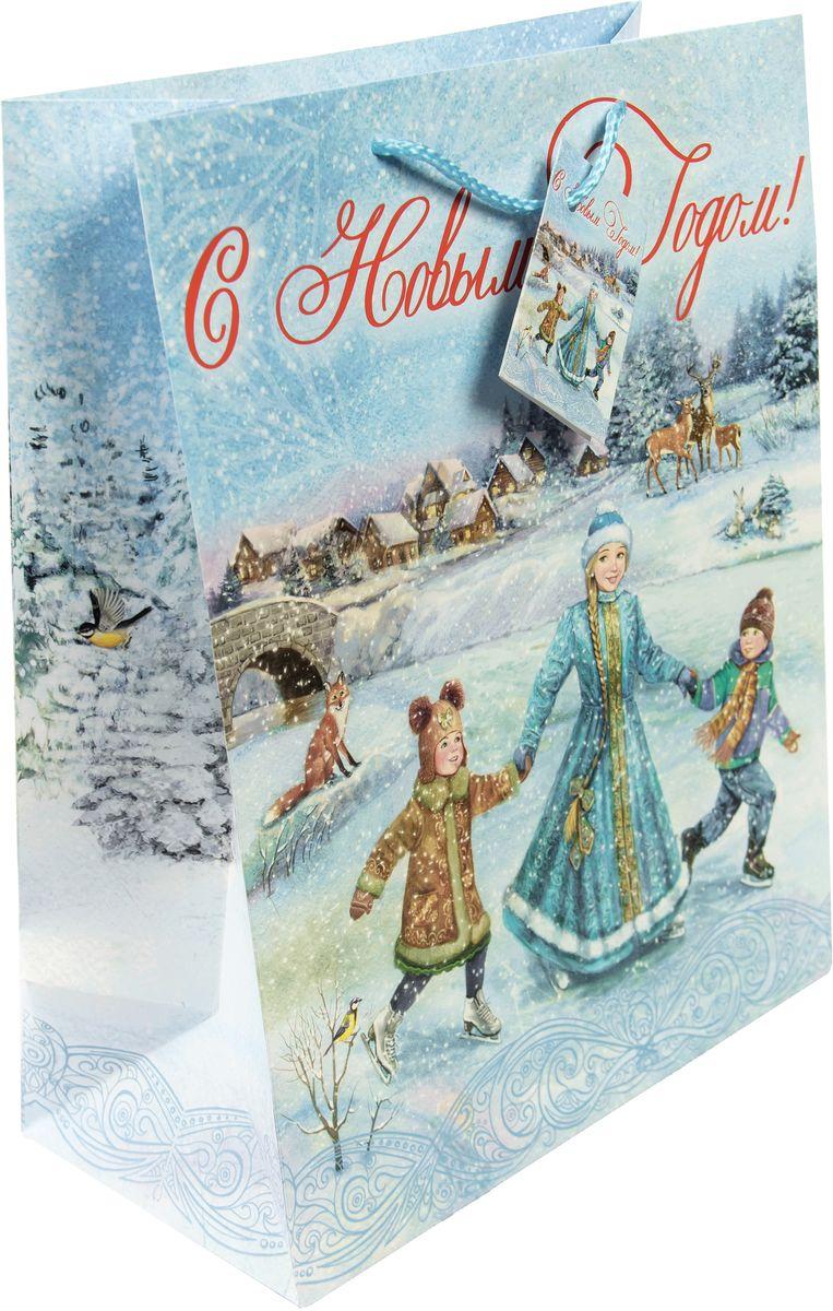 Пакет подарочный Magic Time Зимние забавы, 26 х 32,4 х 12,7 см magic time подарочный пакет новогодняя лампа 26 32 4 12 7 см