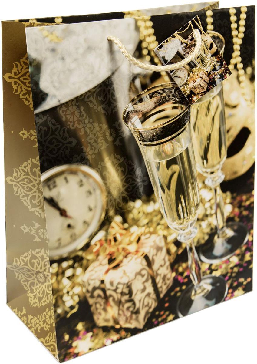 Пакет подарочный Magic Time Золотые бокалы, 26 х 32,4 х 12,7 см75329Новогодний подарочный пакет Золотые бокалы от Magic Time - это стильный и практичный вариант упаковки подарка к любимому всеми празднику. Авторский дизайн, красочное изображение, тематический рисунок - все слагаемые оригинального оформления подарка. Окружите близких людей вниманием и заботой, вручив презент в нарядном, праздничном оформлении. Пакет с матовой ламинацией изготовлен из плотной бумаги. Для удобства переноски имеются две веревочные ручки. Дно укреплено картоном.