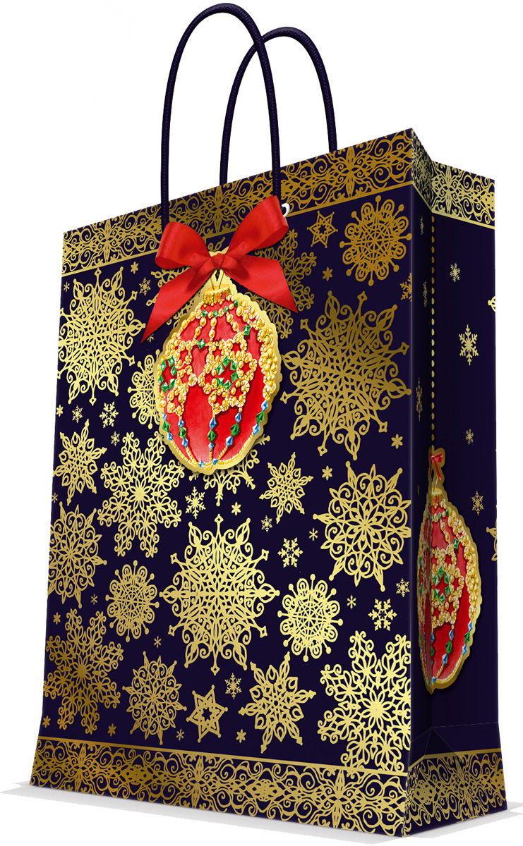 Пакет подарочный Magic Time Искрящиеся снежинки, цвет: золотой, красный, темно-синий, 17,8 х 22,9 х 9,8 см75339Новогодний подарочный пакет Искрящиеся снежинки от Magic Time - это стильный и практичный вариант упаковки подарка к любимому всеми празднику. Авторский дизайн, красочное изображение, тематический рисунок - все слагаемые оригинального оформления подарка. Окружите близких людей вниманием и заботой, вручив презент в нарядном, праздничном оформлении. Пакет с матовой ламинацией изготовлен из плотной бумаги. Для удобства переноски имеются две веревочные ручки. Дно укреплено картоном. Подарочный пакет с аппликацией, бантом и тиснением придаст дополнительный запоминающийся эффект от подарка или покупки.