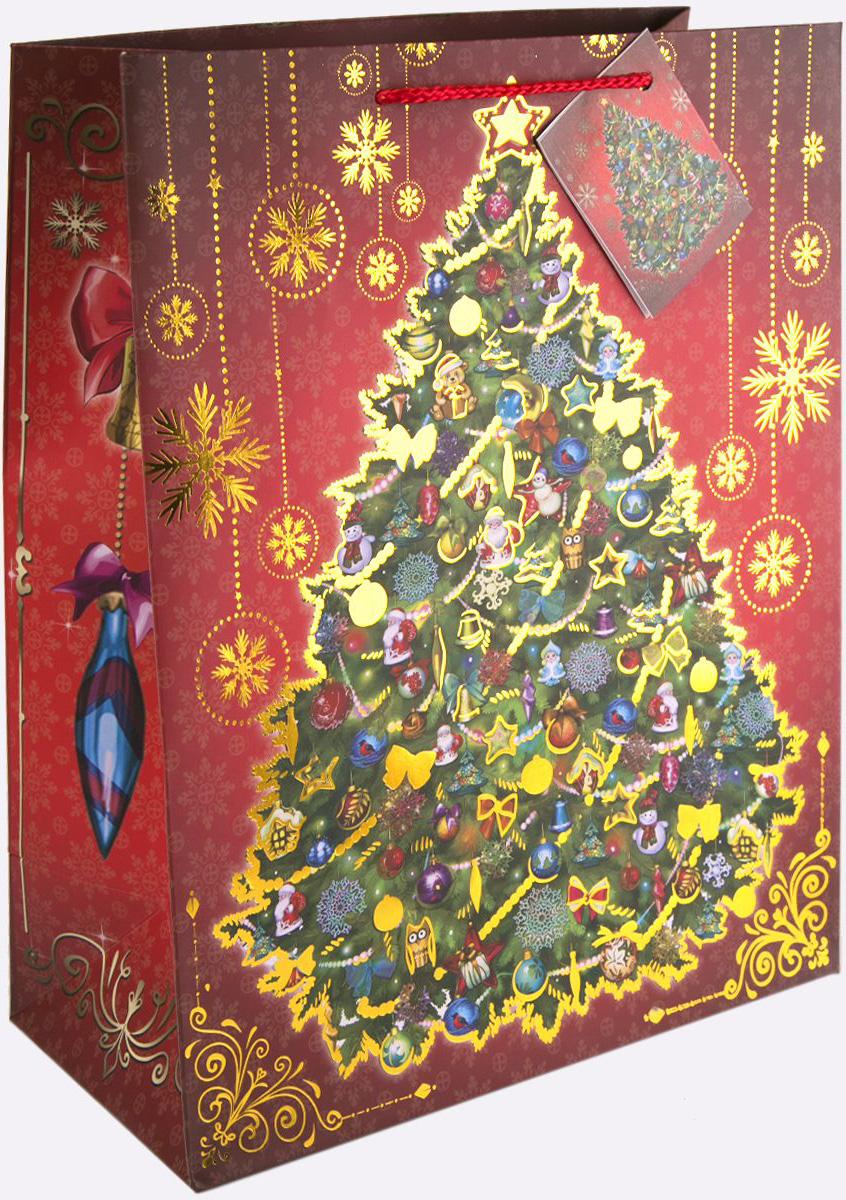 Пакет подарочный Magic Time Новогодняя ночь, цвет: бордовый, золотой, зеленый, 17,8 х 22,9 х 9,8 см75340Новогодний подарочный пакет Новогодняя ночь от Magic Time - это стильный и практичный вариант упаковки подарка к любимому всеми празднику. Авторский дизайн, красочное изображение, тематический рисунок - все слагаемые оригинального оформления подарка. Окружите близких людей вниманием и заботой, вручив презент в нарядном, праздничном оформлении. Пакет с матовой ламинацией изготовлен из плотной бумаги. Для удобства переноски имеются две веревочные ручки. Дно укреплено картоном. Подарочный пакет с тиснением придаст дополнительный запоминающийся эффект от подарка или покупки.