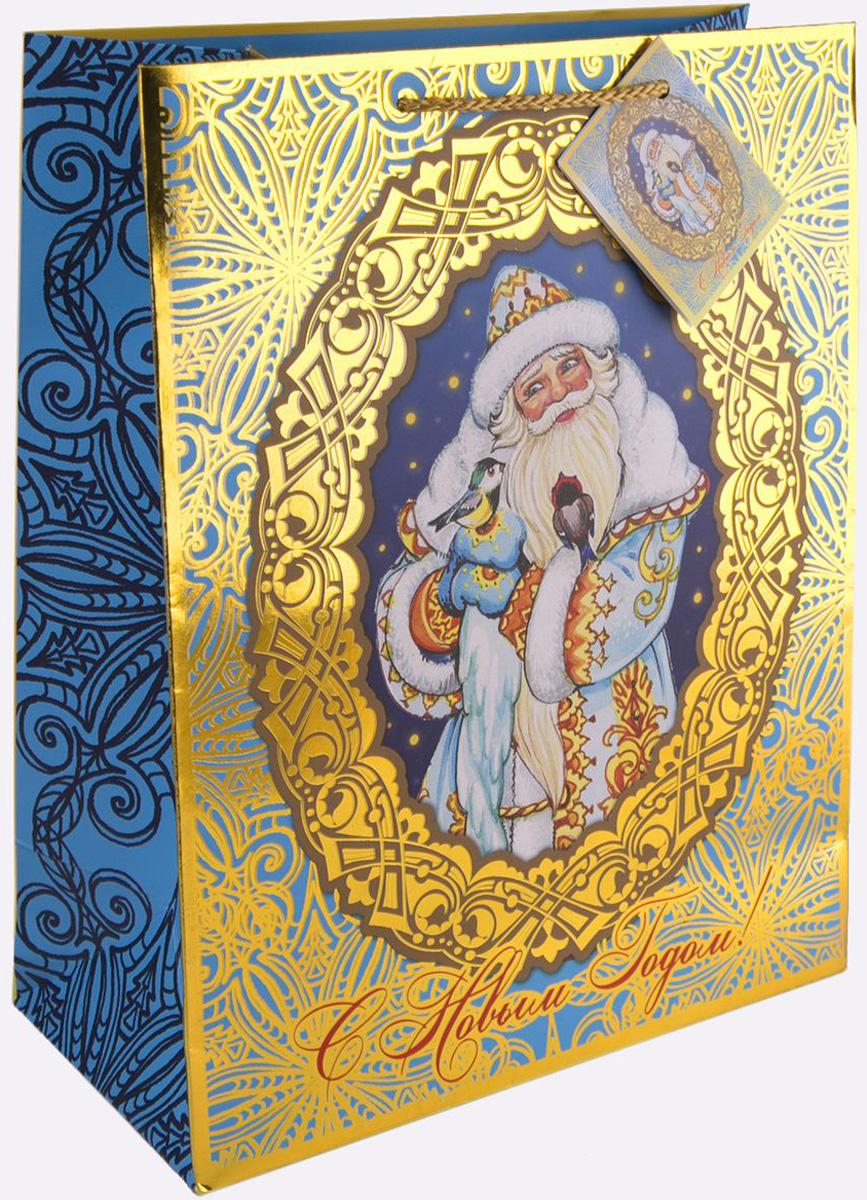 Пакет подарочный Magic Time Дед Мороз и синички, 17,8 х 22,9 х 9,8 см75344Новогодний подарочный пакет Дед Мороз и синички от Magic Time - это стильный и практичный вариант упаковки подарка к любимому всеми празднику. Авторский дизайн, красочное изображение, тематический рисунок - все слагаемые оригинального оформления подарка. Окружите близких людей вниманием и заботой, вручив презент в нарядном, праздничном оформлении. Пакет с матовой ламинацией изготовлен из плотной бумаги. Для удобства переноски имеются две веревочные ручки. Дно укреплено картоном. Подарочный пакет с тиснением придаст дополнительный запоминающийся эффект от подарка или покупки.