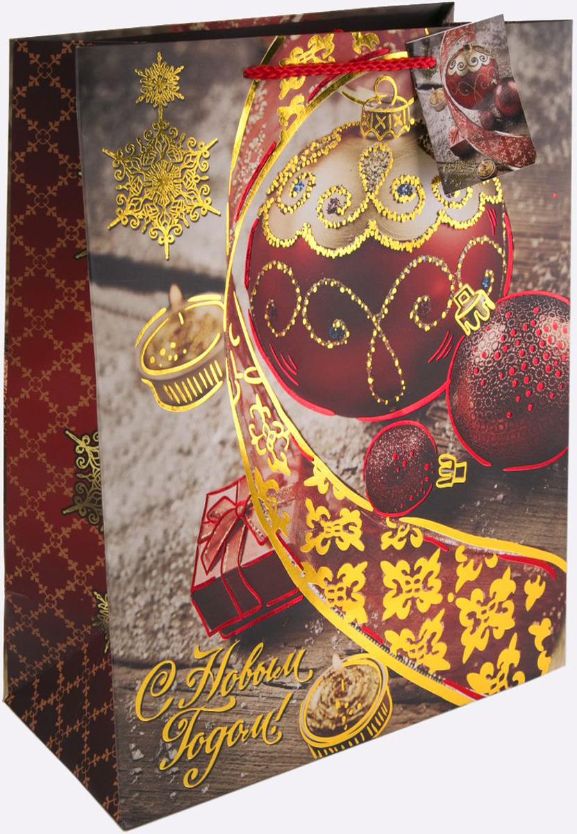 Пакет подарочный Magic Time Красный новогодний шар, 17,8 х 22,9 х 9,8 см magic time подарочный пакет новогодняя лампа 26 32 4 12 7 см