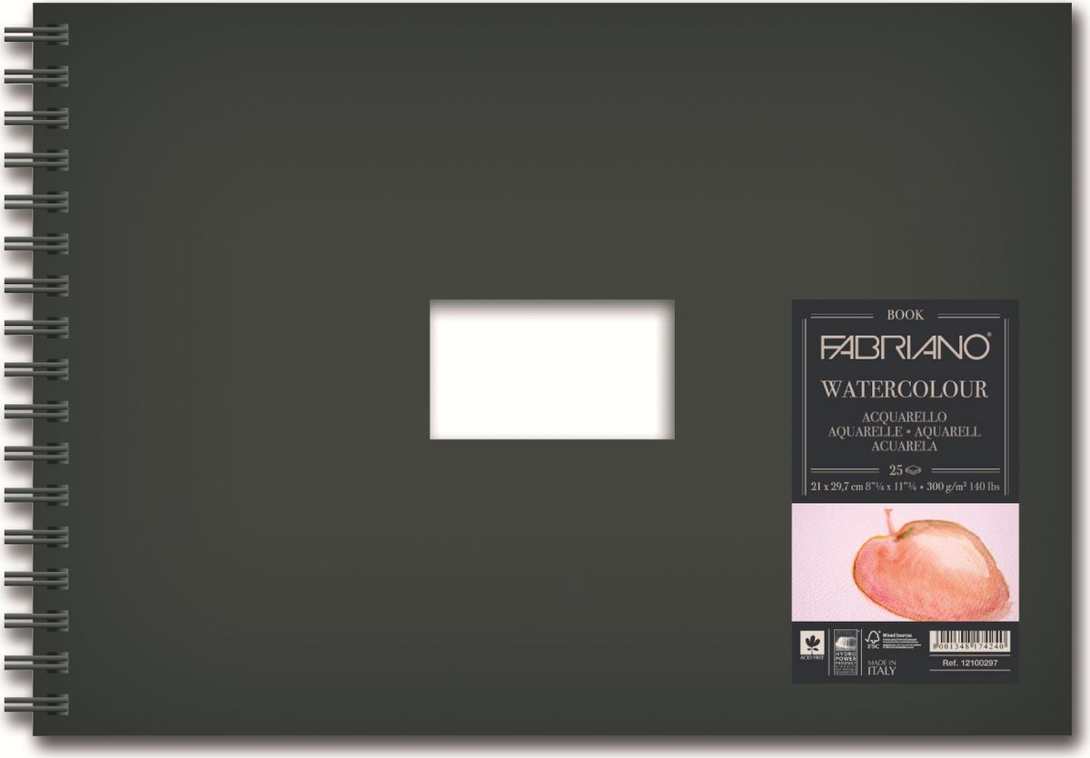 Fabriano Блокнот для акварели Watercolour Book 25 листов 1210029712100297Блокнот Watercolour Book идеально подойдет для акварельных работ. Бумага изготавливается из сырья высокого качества с добавлением хлопка (25%). Твердый моющийся переплет с прямоугольным вырезом посередине позволяет персонализировать блокнот.