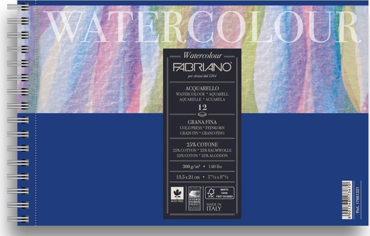 Fabriano Альбом для акварели Watercolour Studio 12 листов 1766132117661321Fabriano Watercolour Studio может быть использована для акварели, темперы, гуаши, акрила, чернил, и графита.Бумага изготавливается из смеси высококачественной целлюлозы и хлопка (25%). Отсутствие кислот в составе гарантирует длительную сохранность готовых работ. Бумага Watercolour Studio прекрасно подойдет для начинающих художников и студентов.Размер бумаги 13,5 см х 21 смФактура бумаги: ФинСостав бумаги: 25% хлопка