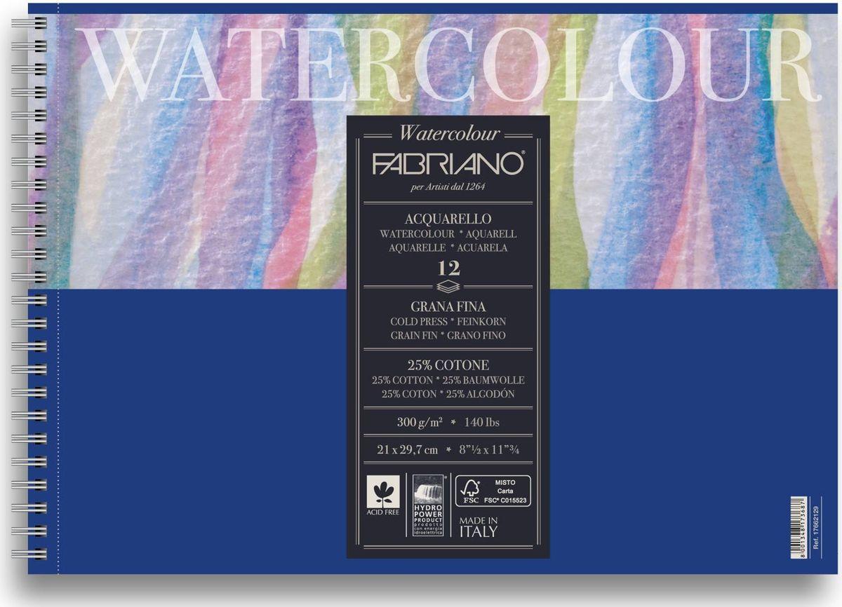Fabriano Альбом для акварели Watercolour Studio 12 листов 1766212917662129Fabriano Watercolour Studio может быть использована для акварели, темперы, гуаши, акрила, чернил, и графита.Бумага изготавливается из смеси высококачественной целлюлозы и хлопка (25%). Отсутствие кислот в составе гарантирует длительную сохранность готовых работ. Бумага Watercolour Studio прекрасно подойдет для начинающих художников и студентов.