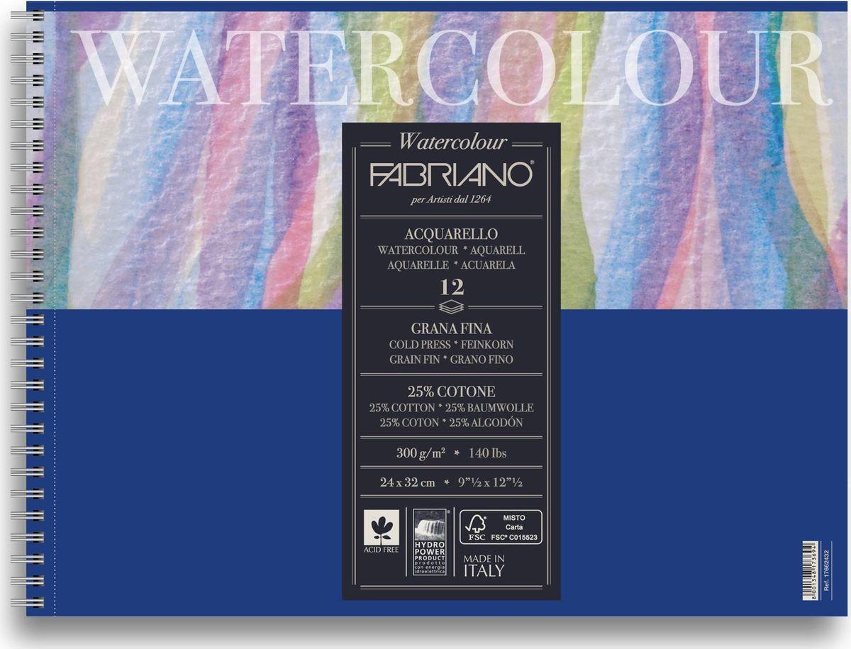 Fabriano Альбом для акварели Watercolour Studio 12 листов 1766243217662432Fabriano Watercolour Studio может быть использована для акварели, темперы, гуаши, акрила, чернил, и графита.Бумага изготавливается из смеси высококачественной целлюлозы и хлопка (25%). Отсутствие кислот в составе гарантирует длительную сохранность готовых работ. Бумага Watercolour Studio прекрасно подойдет для начинающих художников и студентов.