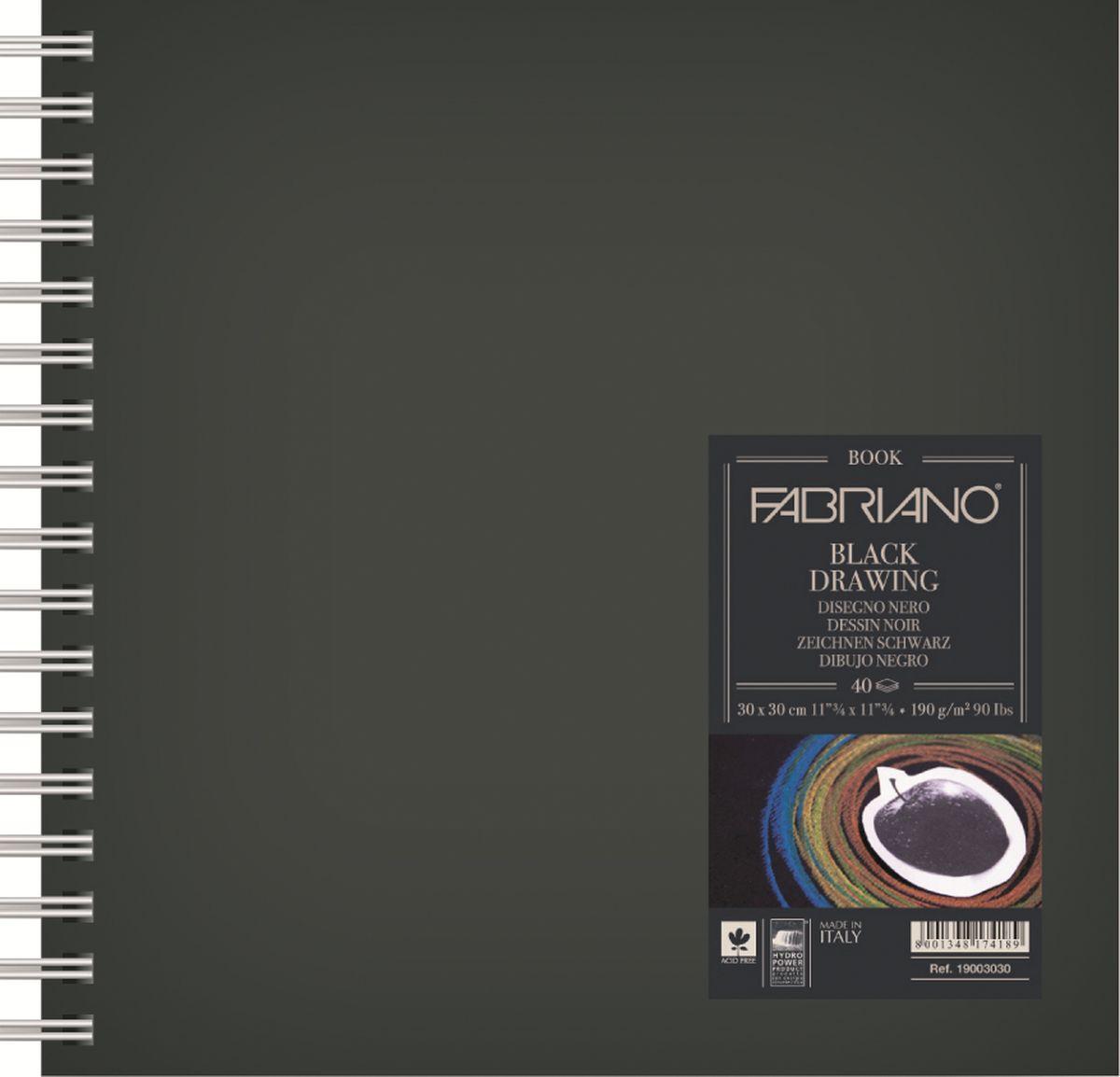Fabriano Блокнот для зарисовок Black Drawing Book цвет черный 40 листов 1900151519001515Блокнот для зарисовок Black Drawing Book с черной бумагой прекрасно подойдут для работы не только ручками, маркерами, тушью, но и акриловыми и темперными красками. Бумага для блокнотов изготавливается из 100% целлюлозы без использования кислот, что гарантирует сохранность бумаги на долгие годы.