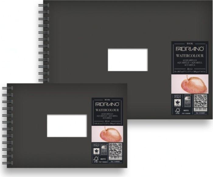 Fabriano Блокнот для акварели Watercolour Book 30 листов 1910001219100012Блокнот Watercolour Book идеально подойдет для акварельных работ. Бумага изготавливается из сырья высокого качества с добавлением хлопка (25%). Твердый моющийся переплет с прямоугольным вырезом посередине позволяет персонализировать блокнот.