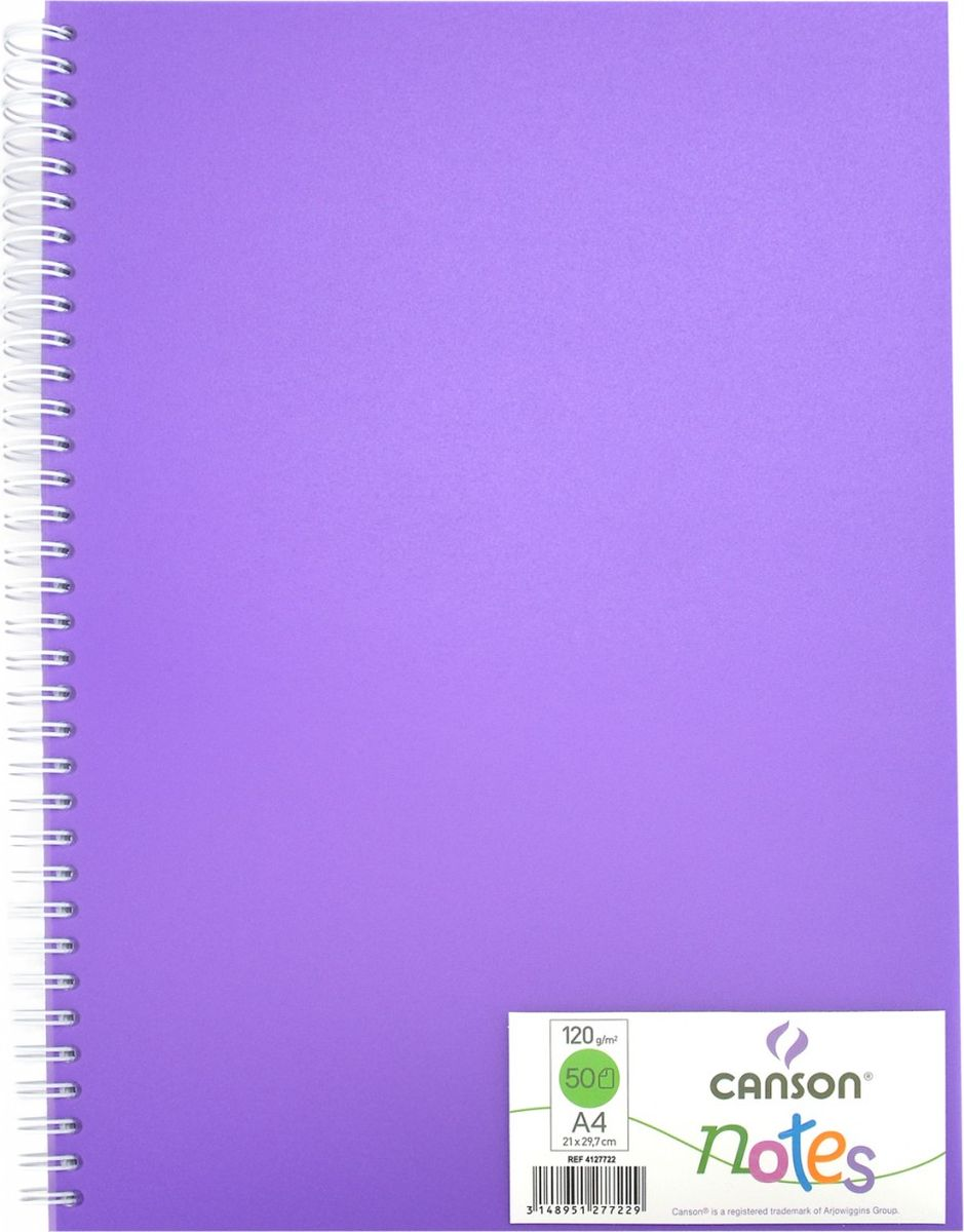 Canson БлокнотдлязарисовокCansonNotesцвет фиолетовый 50 листов 204127722204127722Блокноты Canson Notes прекрасно подходят для современных художников. Они идеальны для ежедневных записей, набросков, карандаша, пастели и чернил.Благодаря высококачественной бумаге, гелиевые и масляные чернила не просачиваются, а пластиковая обложка защищает листы от смятия.Бумага в блокнотах соответствует международному стандарту ISO 9706, не содержит кислот, производится без применения оптических отбеливателей, устойчива к плесени.