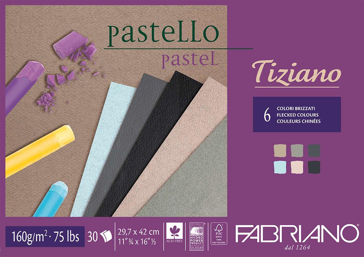 Fabriano Альбом для пастели Tiziano 6 цветов 30 листов 4602974246029742Бумага для пастели Tiziano одна из самых популярных в мире. Бумага может быть использована не только для сухих техник (пастель, уголь, сепия, сангина, карандаш, акварельные краски и гуашь), но и для дизайнерских работ (скручивание, резка, склеивание, создание карт и т.д.).Tiziano изготавливается из целлюлозы и хлопка (40%). В состав не входят кислоты, что обеспечивает высокую светостойкость готовой работы. Благодаря зернистой, чуть шероховатой фактуре обеспечивается сцепление материалов с поверхностью бумаги.