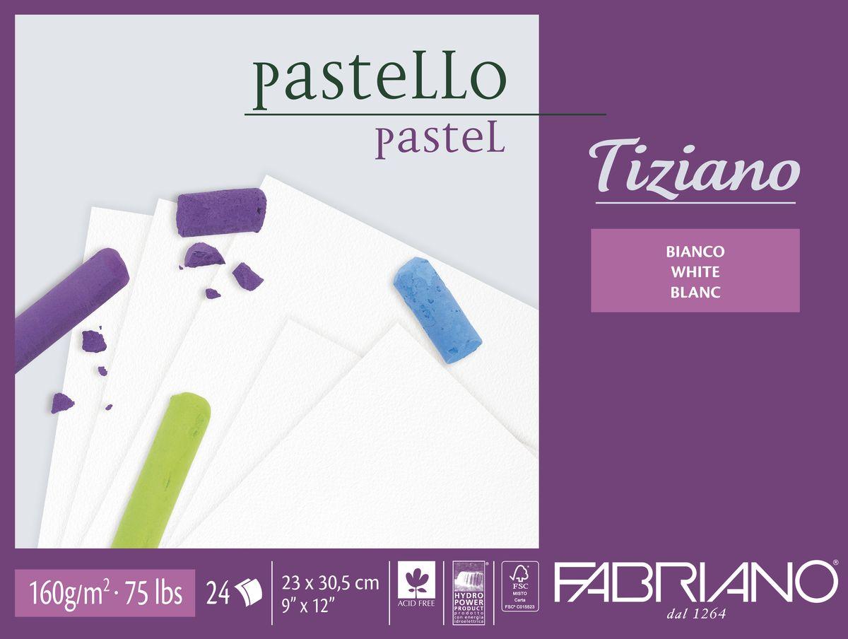 Fabriano Альбом для пастели Tiziano цвет белый 24 листа46423305Бумага для пастели Tiziano одна из самых популярных в мире. Бумага может быть использована не только для сухих техник (пастель, уголь, сепия, сангина, карандаш, акварельные краски и гуашь), но и для дизайнерских работ (скручивание, резка, склеивание, создание карт и т.д.).Tiziano изготавливается из целлюлозы и хлопка (40%). В состав не входят кислоты, что обеспечивает высокую светостойкость готовой работы. Благодаря зернистой, чуть шероховатой фактуре обеспечивается сцепление материалов с поверхностью бумаги.