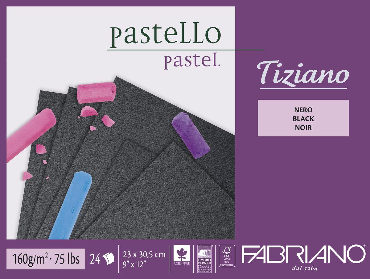 Fabriano Альбом для пастели Tiziano цвет черный 24 листа46723305Бумага для пастели Tiziano одна из самых популярных в мире. Бумага может быть использована не только для сухих техник (пастель, уголь, сепия, сангина, карандаш, акварельные краски и гуашь), но и для дизайнерских работ (скручивание, резка, склеивание, создание карт и т.д.).Tiziano изготавливается из целлюлозы и хлопка (40%). В состав не входят кислоты, что обеспечивает высокую светостойкость готовой работы. Благодаря зернистой, чуть шероховатой фактуре обеспечивается сцепление материалов с поверхностью бумаги.