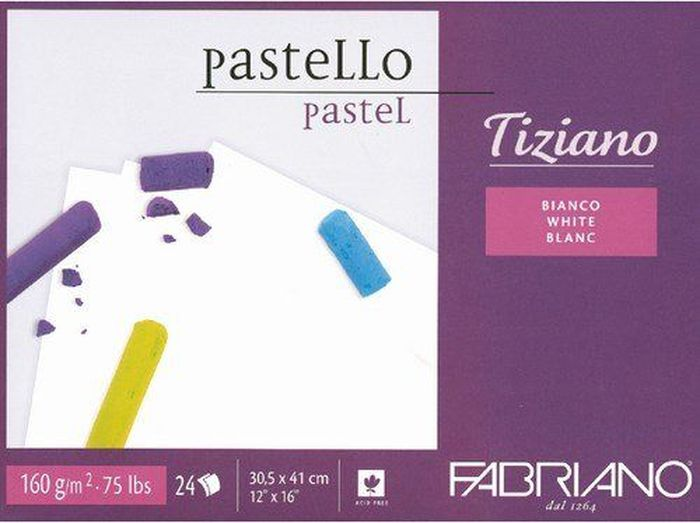 Fabriano Альбом для пастели Tiziano цвет черный 24 листа46730541Бумага для пастели Tiziano одна из самых популярных в мире. Бумага может быть использована не только для сухих техник (пастель, уголь, сепия, сангина, карандаш, акварельные краски и гуашь), но и для дизайнерских работ (скручивание, резка, склеивание, создание карт и т.д.).Tiziano изготавливается из целлюлозы и хлопка (40%). В состав не входят кислоты, что обеспечивает высокую светостойкость готовой работы. Благодаря зернистой, чуть шероховатой фактуре обеспечивается сцепление материалов с поверхностью бумаги.
