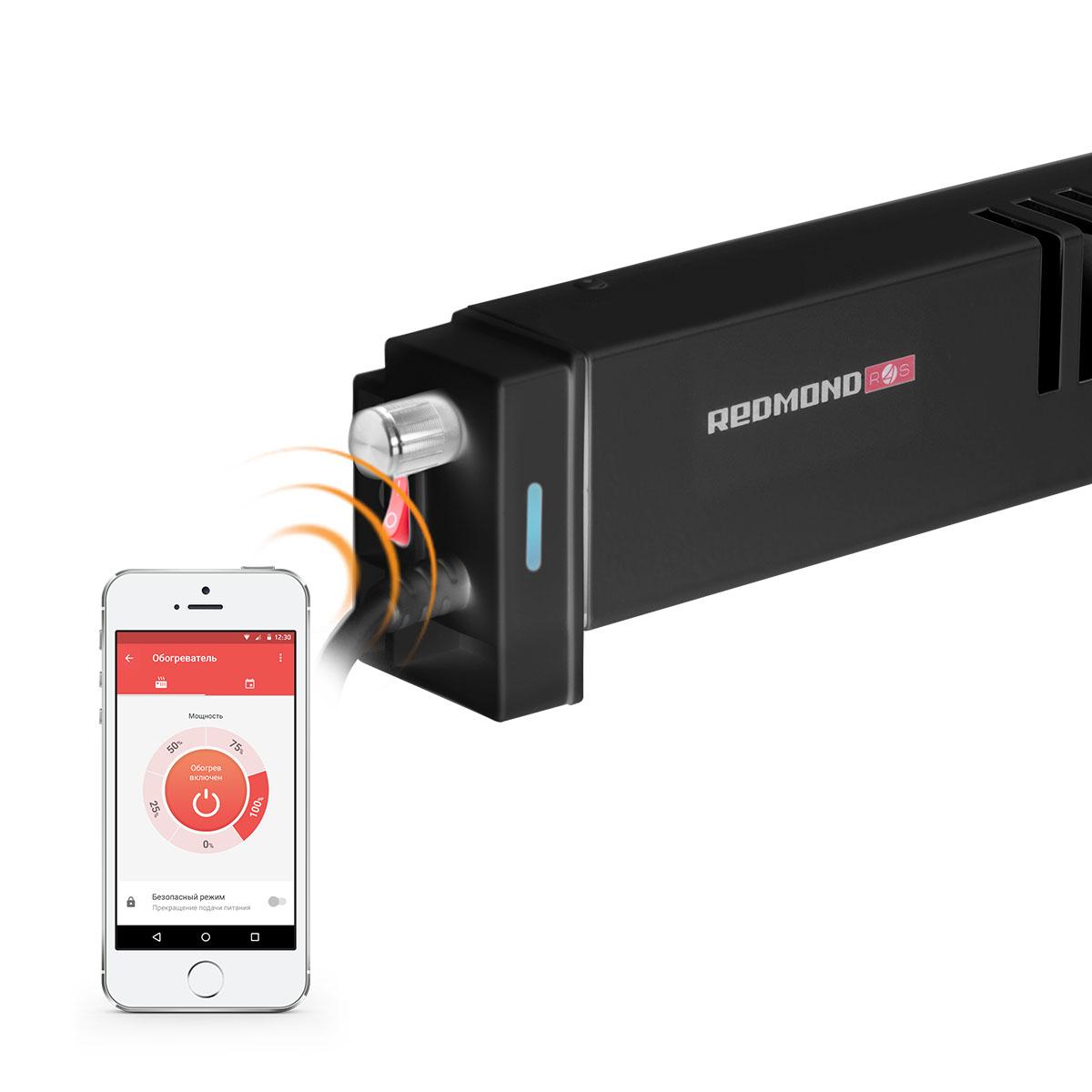 Redmond SkyHeat RCH-7001S, Black обогревательRCH-7001S BlackПлинтусный обогреватель SkyHeat 7001S – это новое умное устройство в линейке REDMOND Smart Home. От обогревателей других типов его отличает принцип подачи тепла в помещение. Компактный 7001S обогревает стену, возле которой установлен. Нагретая стена выполняет функцию теплового экрана и начинает сама согревать комнату. Благодаря такому способу воздух в помещении не расслаивается на теплый и холодный, а прогревается равномерно по принципу естественной конвекции.Воздушные потоки циркулируют с маленькой скоростью и не поднимают пыль, что имеет ключевую важность для аллергиков и людей с заболеваниями дыхательных путей.Умный плинтусный обогреватель 7001S работает с низким расходом энергии, а особая конструкция нагревательного элемента позволяет значительно увеличить зону теплоотдачи. Нагретая стена медленно остывает, а значит, комната дольше остается теплой даже после отключения смарт обогревателя 7001S. Умный плинтусный обогреватель подходит для использования не только в квартирах, но и в загородных домах, офисах и помещениях с высоким уровнем влажности. Благодаря равномерному прогреву воздуха в помещениях сокращается вероятность возникновения грибка и плесени на стенах и конденсата на окнах.SkyHeat 7001S управляется не только с помощью регулятора на корпусе прибора, но и через мобильное приложение Ready for Sky на смартфоне или планшете. Из соседней комнаты, а при подключенном приложении R4S Gateway на домашнем Android-смартфоне/планшете с любого расстояния: из офиса, по дороге домой или на дачу можно включить и выключить плинтусный обогреватель, выбрать мощность нагрева (доступно 4 уровня для поддержания комфортной постоянной температуры или быстрого обогрева), настроить расписание работы умного 7001S или заблокировать его от несанкционированного включения.Как выбрать обогреватель. Статья OZON Гид