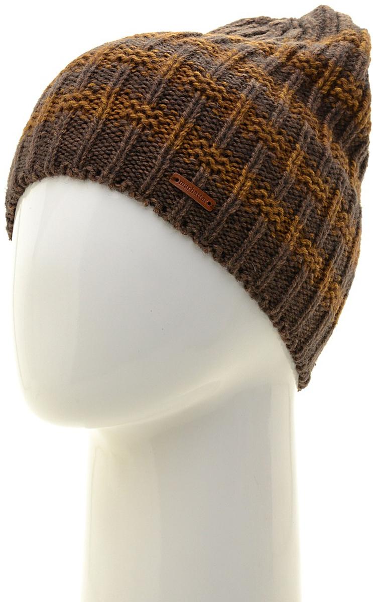 Шапка мужская Marhatter, цвет: коричневый, желтый. Размер 57/59. MMH6536/1MMH6536/1Отличная вязаная шапка в стиле сasual. Модель прекрасно подойдет активным молодым людям, ценящим комфорт и удобство. Идеальный вариант на каждый день.
