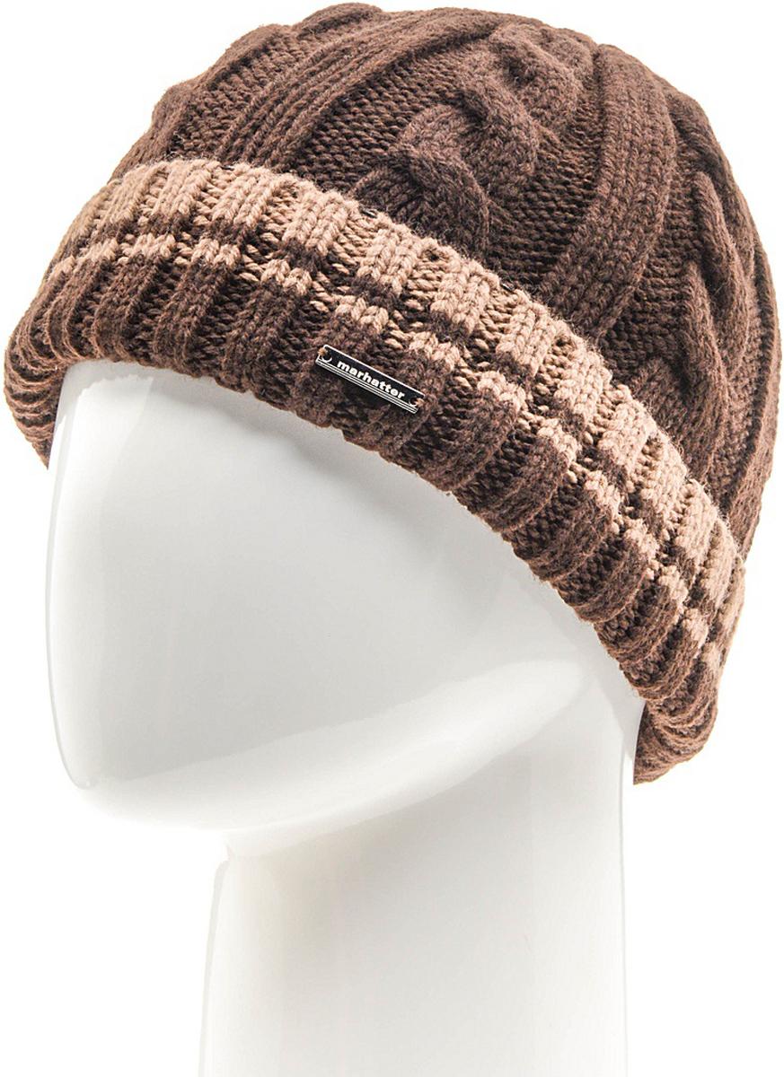 Шапка мужская Marhatter, цвет: коричневый. Размер 57/59. MMH6954/2MMH6954/2Универсальная шапка, отлично подходит под любой стиль одежды. Сдержанный строгий дизайн, деликатная отделка и классические цвета.
