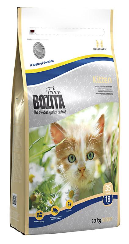 Корм сухой Bozita Feline Kitten, для котят, беременных и кормящих кошек, 10 кг0201454Корм сухой Bozita Feline Kitten - полнорационное сбалансированное сухое питание супер премиум класса для котят и молодых кошек, беременных и кормящих кошек. Питание содержит мясо скандинавского лосося, который легко переваривается, облегчая котенку усвоение питательных веществ. Мясо лосося богато жирными кислотами Омега 3 и Омега 6, оптимальный баланс которых необходим для здоровой кожи и блестящей шерсти. MacroGard- уникальный натуральный иммуностимулятор, который укрепляет собственную иммунную систему кошки, а котятам помогает построить сильную иммунную систему. Маленькие крокеты способствуют мягкому переходу котят с молока на сухое питание. Состав: сушеное куриное мясо (26%), кукуруза, костный жир, лосось (скандинавский, 10%), рис, сушеная свинина, кукурузный глютен, гидролизованное куриное мясо, минеральные вещества, дрожжи, сушеная молочная сыворотка, сушеный свекловичный жом.Добавки (на кг):Пищевые добавки: витамин А 12000 МЕ, витамин D3, 1200 МЕ, витамин Е 70 мг, таурин 1000 мг, DL-метионин 2000 мг, сульфат меди (II), пентагидрат 48 мг, марганца (II) оксид/ марганца (III) оксид 13,9 мг, сульфат цинка, моногидрат 237 мг, йодат кальция, безводный 6 мг, селенит натрия 6,6 мг. Технические добавки: антиоксиданты.Высокоэнергетические компоненты защищены антиоксидантами, сертифицированными ЕС.Анализ: белок 35%, жир 18%, клетчатка 1,6%, сырая зола (минеральные вещества) 7,2% (в т.ч. кальций 1,2%, фосфор 1,0%, магний 0,09%), влага 10%.Энергетическая ценность: 1550 кДж / 100 г