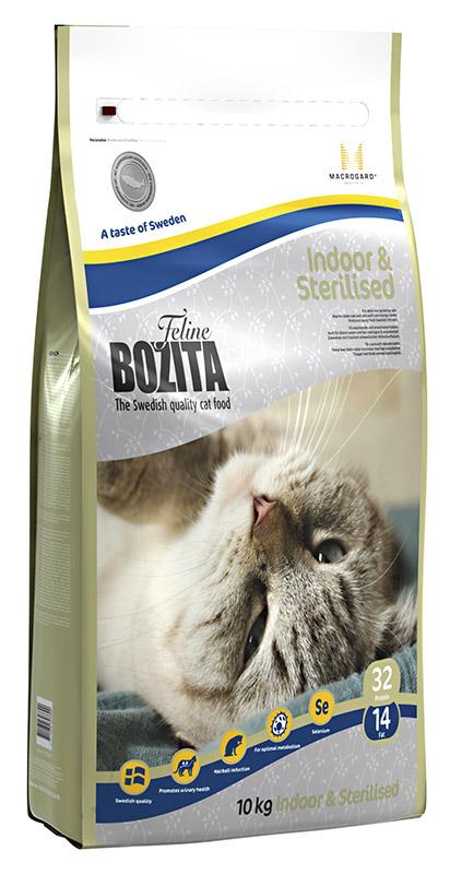 Корм сухой Bozita Feline Indoor & Sterilised, для взрослых и пожилых кошек, кастрированных котов и стерилизованных кошек, 10 кг41357Корм сухой Bozita Feline Indoor & Sterilised - полнорационное, сбалансированное сухое питание супер премиум класса для взрослых и растущихкошек, ведущих малоподвижный, домашний образ жизни, а также для кастрированных и стерилизованных кошек. Учитывает пониженнуюпотребность в энергии домашних и стерилизованных кошек, поэтому подходит также стареющим кошкам.Питание содержит свежее шведское куриное мясо, отличающееся высокой усвояемостью и отличным вкусом. Повышенное содержание клетчаткив питании способствует улучшению работы кишечника. В состав питания входит L-карнитин - аминокислота, которая осуществляет транспортжирных кислот, усиливая обмен веществ. Питание сдержит тщательно выверенное соотношение минеральных веществ, безопасное для почек имочевыводящих путей. Также содержит натуральный иммуностимулятор MacroGard, усиливающий собственную иммуннуюсистему кошки.Состав: куриное мясо (сушеное куриное мясо 25%, свежее шведское куриное мясо 4%), мука пшеничная хлебопекарная, кукуруза, сушенаясвинина, костный жир, рис, гидролизованное куриное мясо, лигноцеллюлоза(4%), кукурузный глютен, сушеная арктическая рыба, яичный порошок,дрожжи, сушеный свекловичный жом, минеральные вещества. Добавки (на кг) Пищевые добавки: витамин А 10000 МЕ, витамин D3 1000 МЕ, витамин Е 60 мг, L-карнитин 50 мг, таурин 800 мг, DL-метионин 2000 мг, сульфат меди-(II), пентагидрат 40 мг, марганца (II) оксид/ марганца (III) оксид 11,6 мг, сульфат цинка, моногидрат 197 мг, йодат кальция, безводный 5 мг, селенит натрия 6,6 мг. Технические добавки: антиоксиданты. Высокоэнергетические компоненты защищены антиоксидантами, сертифицированными ЕС. Анализ: белок 32%, жир 14%, сырая клетчатка 3,7%, сырая зола (минеральные вещества) 7 %, влага 10%. Энергетическая ценность: 1450 кДж / 100г.