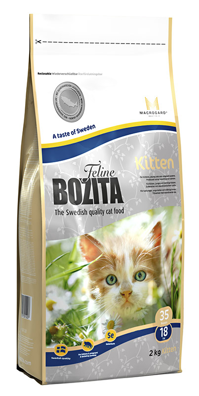 Корм сухой Bozita Feline Kitten, для котят, беременных и кормящих кошек, 2 кг41447Полнорационное сбалансированное сухое питание супер премиум класса для котят и молодых кошек, беременных и кормящих кошек.Питание содержит мясо скандинавского лосося, который легко переваривается, облегчая котенку усвоение питательных веществ. Мясо лосося богато жирными кислотами Омега 3 и Омега 6, оптимальный баланс которых необходим для здоровой кожи и блестящей шерсти. MacroGard®(?-1,3/1,6-глюкан) - уникальный натуральный иммуностимулятор, который укрепляет собственную иммунную систему кошки, а котятам помогает построить сильную иммунную систему. Маленькие крокеты способствуют мягкому переходу котят с молока на сухое питание.Состав: сушеное куриное мясо (26%), кукуруза, костный жир, лосось (скандинавский, 10%), рис, сушеная свинина, кукурузный глютен, гидролизованное куриное мясо, минеральные вещества, дрожжи (в т.ч. ?-1.3/1.6-глюкан, 0,06%), сушеная молочная сыворотка, сушеный свекловичный жом. Добавки (на кг): пищевые добавки: витамин А 12000 МЕ, витамин D3, 1200 МЕ, витамин Е (рацемический ?-токоферола ацетат) 70 мг, таурин 1000 мг, DL-метионин 2000 мг, сульфат меди (II), пентагидрат 48 мг, марганца (II) оксид/ марганца (III) оксид 13,9мг, сульфат цинка, моногидрат 237мг, йодат кальция, безводный 6 мг, селенит натрия 6,6мг. Технические добавки: антиоксиданты. Высокоэнергетические компоненты защищены антиоксидантами, сертифицированными ЕС. Анализ: белок 35%, жир 18%, клетчатка 1,6%, сырая зола (минеральные вещества) 7,2% (в т.ч. кальций 1,2%, фосфор 1,0%, магний 0,09%), влага 10%. Энергетическая ценность: 1550 кДж/100г