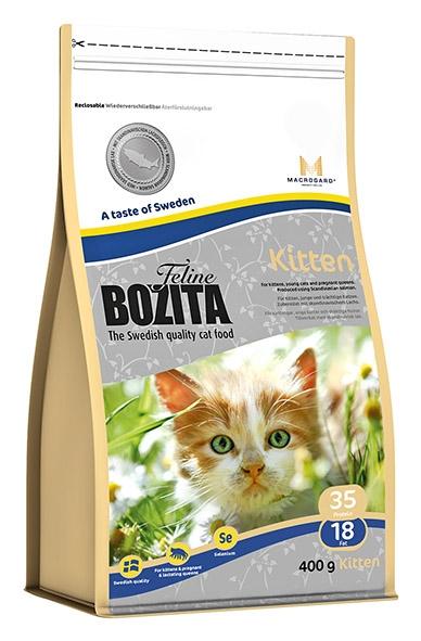 Корм сухой Bozita Feline Kitten, для котят, беременных и кормящих кошек, 400 г41724Корм сухой Bozita Feline Kitten - полнорационное сбалансированное сухое питание супер премиум класса для котят и молодых кошек, беременных и кормящих кошек.Питание содержит мясо скандинавского лосося, который легко переваривается, облегчая котенку усвоение питательных веществ. Мясо лосося богато жирными кислотами Омега 3 и Омега 6, оптимальный баланс которых необходим для здоровой кожи и блестящей шерсти. MacroGard® (1,3/1,6-глюкан) - уникальный натуральный иммуностимулятор, который укрепляет собственную иммунную систему кошки, а котятам помогает построить сильную иммунную систему. Маленькие крокеты способствуют мягкому переходу котят с молока на сухое питание. Состав: сушеное куриное мясо (26%), кукуруза, костный жир, лосось (скандинавский, 10%), рис, сушеная свинина, кукурузный глютен, гидролизованное куриное мясо, минеральные вещества, дрожжи (1.3/1.6-глюкан, 0,06%), сушеная молочная сыворотка, сушеный свекловичный жом. Добавки (на кг): пищевые добавки: витамин А 12000 МЕ, витамин D3, 1200 МЕ, витамин Е (рацемический токоферола ацетат) 70 мг, таурин 1000 мг, DL-метионин 2000 мг, сульфат меди (II), пентагидрат 48 мг, марганца (II) оксид/марганца (III) оксид 13,9 мг, сульфат цинка, моногидрат 237 мг, йодат кальция, безводный 6 мг, селенит натрия 6,6 мг. Технические добавки: антиоксиданты. Высокоэнергетические компоненты защищены антиоксидантами, сертифицированными ЕС. Анализ: белок 35%, жир 18%, клетчатка 1,6%, сырая зола (минеральные вещества) 7,2% (кальций 1,2%, фосфор 1,0%, магний 0,09%), влага 10%. Энергетическая ценность: 1550 кДж/100г. Товар сертифицирован.