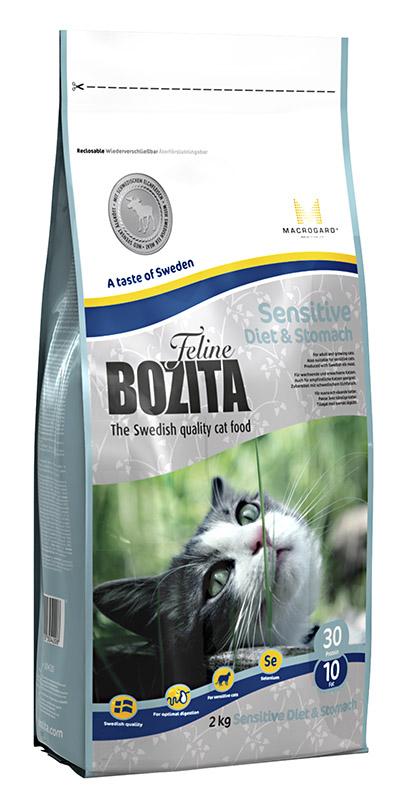 Корм сухой Bozita  Feline Sensitive Diet & Stomach , для кошек с чувствительным пищеварением, придерживающихся диеты, с избыточным весом, 2 кг - Корма и лакомства