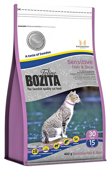 Корм сухой Bozita Feline Sensitive Hair & Skin, для взрослых и растущих кошек, для здоровой кожи и блестящей шерсти, 400 г41731Сухой корм Feline Sensitive Hair & Skin - полнорационное, сбалансированное сухое питание супер премиум класса для взрослых и растущих кошек, для кошек с чувствительной кожей и шерстью. Питание содержит мясо скандинавского лосося, которое содержит оптимальный баланс Омега 3 и 6 жирных кислот, обеспечивающих, вместе с витаминами группы В и цинком здоровую кожу и блестящую шерсть кошке. Повышенное содержание клетчатки в питании способствует естественному выведению шерстяных комочков из желудка кошки. В состав питания входит уникальный натуральный иммуностимулятор MacroGard®(?-1,3/1,6-глюкан), который усиливает собственную иммунную систему кошки. Состав: сухое куриное мясо (18%), мука пшеничная хлебопекарная, кукуруза, лосось (скандинавский, 10%), костный жир, рис, сушеная свинина, гидролизованное куриное мясо, лигноцеллюлоза (4%), кукурузный глютен, яичный порошок, минеральные вещества, дрожжи (в т.ч. ?-1.3/1.6-глюкан, 0,06%), сушеный свекловичный жом. Добавки (на кг): пищевые добавки: витамин А 12000 МЕ, витамин D3 1200 МЕ, витамин Е (рацемический ?-токоферола ацетат) 70 мг, таурин 1000 мг, DL-метионин 2000 мг, сульфат меди (II), пентагидрат 48 мг, марганца (II) оксид/ марганца (III) оксид 13,9 мг, сульфат цинка, моногидрат 237 мг, йодат кальция, безводный 6 мг, селенит натрия 6,6мг, витамин В1 36 мг (тиамин мононитрат), витамин В2 12 мг (рибофлавин), витамин В6 7,2 мг (пиридоксина гидрохлорид), витамин В12 0,04 мг (цианокобаламин), пантотеновая кислота 17 мг (кальция пантотенат), фолин 2,4 мг (фолиевая кислота), ниацин 72 мг (никотинамид/никотиновая кислота), биотин 0,2 мг (d-биотин). Технические добавки: антиоксиданты. Высокоэнергетические компоненты защищены антиоксидантами, сертифицированными ЕС Анализ: белок 30%, жир 15%, сырая клетчатка 3,7%, сырая зола (минеральные вещества) 6,8% (в т.ч. кальций 1,1%, фосфор 0,9%, магний 0,09%), влага 1