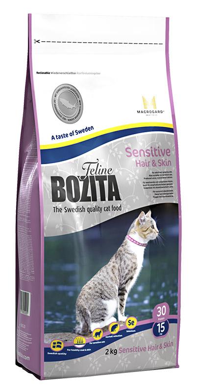 Корм сухой Bozita Feline Sensitive Hair & Skin, для взрослых и растущих кошек, для здоровой кожи и блестящей шерсти, 2 кг41732Корм сухой Bozita Feline Sensitive Hair & Skin - полнорационное, сбалансированное сухое питание супер премиум класса для взрослых и растущих кошек, для кошек с чувствительной кожей и шерстью. Питание содержит мясо скандинавского лосося, которое содержит оптимальный баланс Омега 3 и 6 жирных кислот, обеспечивающих, вместе с витаминами группы В и цинком здоровую кожу и блестящую шерсть кошке. Повышенное содержание клетчатки в питании способствует естественному выведению шерстяных комочков из желудка кошки. В состав питания входит уникальный натуральный иммуностимулятор MacroGard® (1,3/1,6-глюкан), который усиливает собственную иммунную систему кошки. Состав: сухое куриное мясо (18%), мука пшеничная хлебопекарная, кукуруза, лосось (скандинавский, 10%), костный жир, рис, сушеная свинина, гидролизованное куриное мясо, лигноцеллюлоза (4%), кукурузный глютен, яичный порошок, минеральные вещества, дрожжи (1.3/1.6-глюкан, 0,06%), сушеный свекловичный жом. Добавки (на кг): пищевые добавки: витамин А 12000 МЕ, витамин D3 1200 МЕ, витамин Е (рацемический токоферола ацетат) 70 мг, таурин 1000 мг, DL-метионин 2000 мг, сульфат меди (II), пентагидрат 48 мг, марганца (II) оксид/ марганца (III) оксид 13,9 мг, сульфат цинка, моногидрат 237 мг, йодат кальция, безводный 6 мг, селенит натрия 6,6мг, витамин В1 36 мг (тиамин мононитрат), витамин В2 12 мг (рибофлавин), витамин В6 7,2 мг (пиридоксина гидрохлорид), витамин В12 0,04 мг (цианокобаламин), пантотеновая кислота 17 мг (кальция пантотенат), фолин 2,4 мг (фолиевая кислота), ниацин 72 мг (никотинамид/никотиновая кислота), биотин 0,2 мг (d-биотин). Технические добавки: антиоксиданты. Высокоэнергетические компоненты защищены антиоксидантами, сертифицированными ЕС. Анализ: белок 30%, жир 15%, сырая клетчатка 3,7%, сырая зола (минеральные вещества) 6,8% (кальций 1,1%, фосфор 0,9%, магний 0,09%), влага 10%. Энергети