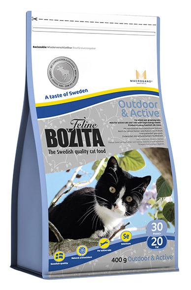 Корм сухой Bozita Feline Outdoor & Active, для молодых кошек (переход с Kitten), для взрослых активных домашних кошек, 400 г41952Полнорационное, сбалансированное сухое питание супер премиум класса для взрослых и растущих кошек, ведущих активный образ жизни. Питание содержит мяса шведского лося, которое делает его особенно вкусным, плоды шиповника - натуральный антиоксидант с большим количество витамина С, служащим для усиления естественной защиты кошек, ведущих активный образ жизни и натуральный иммуностимулятор MacroGard®(?-1,3/1,6-глюкан). Состав: сушеное куриное мясо (20%), мука пшеничная хлебопекарная, кукуруза, костный жир, сушеная свинина, мясо лося (шведское, 5,2 %), рис, гидролизованное куриное мясо, кукурузный глютен, сушеная арктическая рыба, минеральные вещества, дрожжи (в т.ч. ? -1.3/1.6-глюкан, 0,05%), сушеный свекловичный жом, измельченные плоды шиповника (0,25%). Добавки (на кг): пищевые добавки: витамин А 10000 МЕ, витамин D3 1000 МЕ, витамин Е (рацемический ?-токоферола ацетат) 60 мг, таурин 800 мг, DL-метионин 2000 мг, сульфат меди (II), пентагидрат 40 мг, марганца (II) оксид/ марганца (III) оксид 11,6мг, сульфат цинка, моногидрат 197мг, йодат кальция, безводный 5 мг, селенит натрия 6,6мг. Технические добавки: антиоксиданты. Высокоэнергетические компоненты защищены антиоксидантами, сертифицированными ЕС. Анализ: белок 30%, жир 20%, сырая клетчатка 1,2%, сырая зола (минеральные вещества) 7,4% (в т.ч. кальций 1,2%, фосфор 1,0%, магний 0,09%), влага 10%. Энергетическая ценность: 1610 кДж/100г