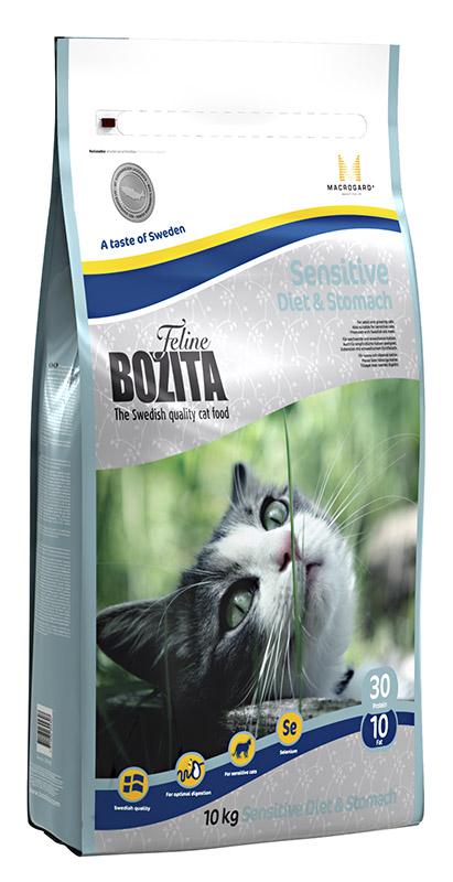 Корм сухой Bozita  Feline Sensitive Diet & Stomach , для кошек с чувствительным пищеварением, придерживающихся диеты, с избыточным весом, 10 кг - Корма и лакомства