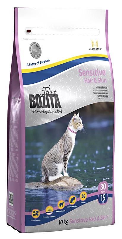 Корм сухой Bozita  Feline Sensitive Hair & Skin , для взрослых и растущих кошек, для здоровой кожи и блестящей шерсти, 10 кг