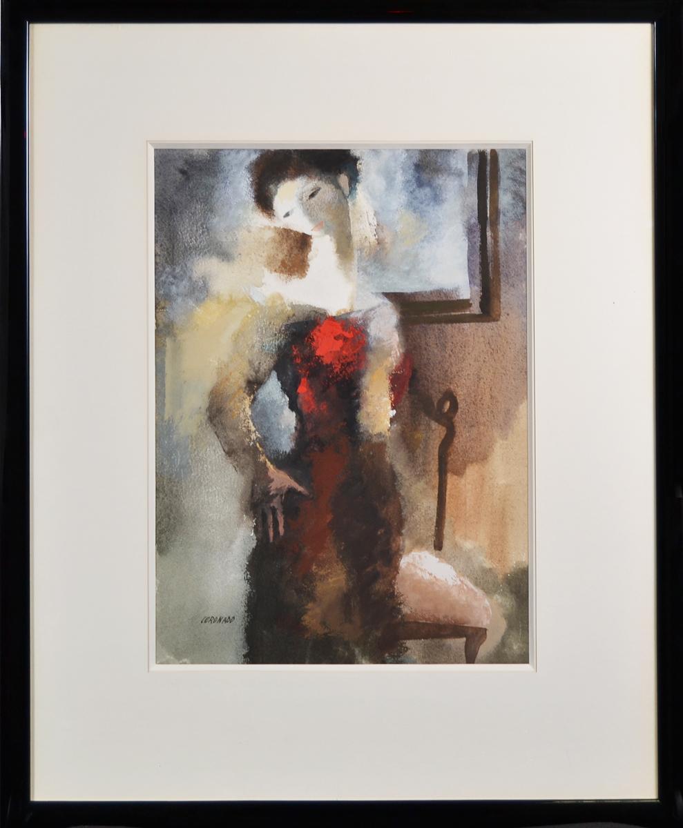 Женщина с красным цветком. Художник Мануэль Коронадо. Гуашь. Испания, 1980 гг