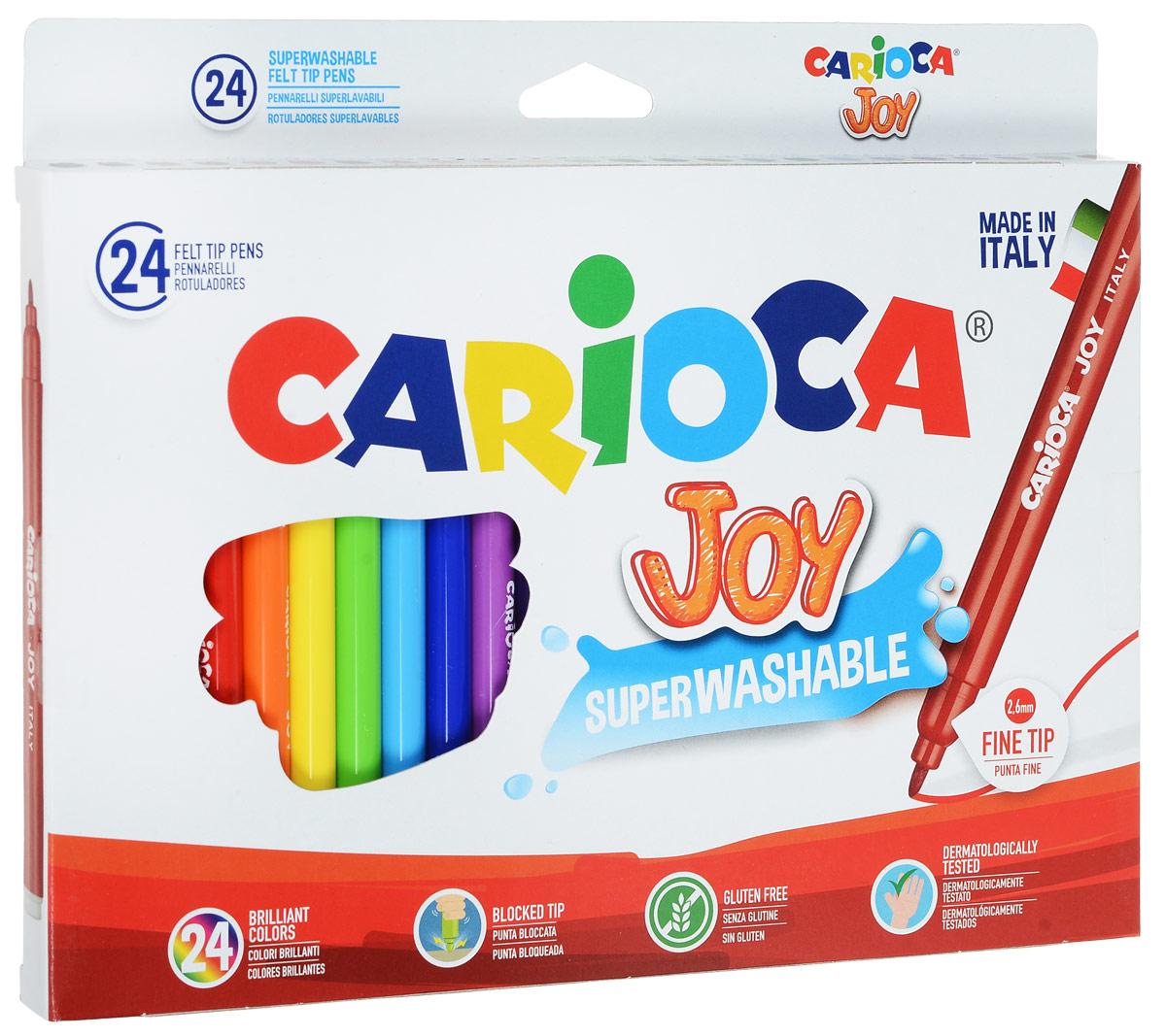 Carioca Набор фломастеров Joy 24 цвета40615/24Набор фломастеров Carioca Joy, предназначенные для художественно-оформительских работ, обязательно порадуют вашего юного художника и помогут создать ему неповторимые и яркие картинки.Набор включает в себя 24 фломастера ярких насыщенных цветов. Специальные чернила на водной основе легко смываются с кожи и удаляются с большинства тканей. Корпус фломастеров изготовлен из пластика, а колпачок имеет специальные прорези, что еще больше увеличивает срок службы чернил и предотвращает их преждевременное высыхание.Уважаемые клиенты! Обращаем ваше внимание на возможные изменения в дизайне упаковки. Качественные характеристики товара остаются неизменными. Поставка осуществляется в зависимости от наличия на складе.