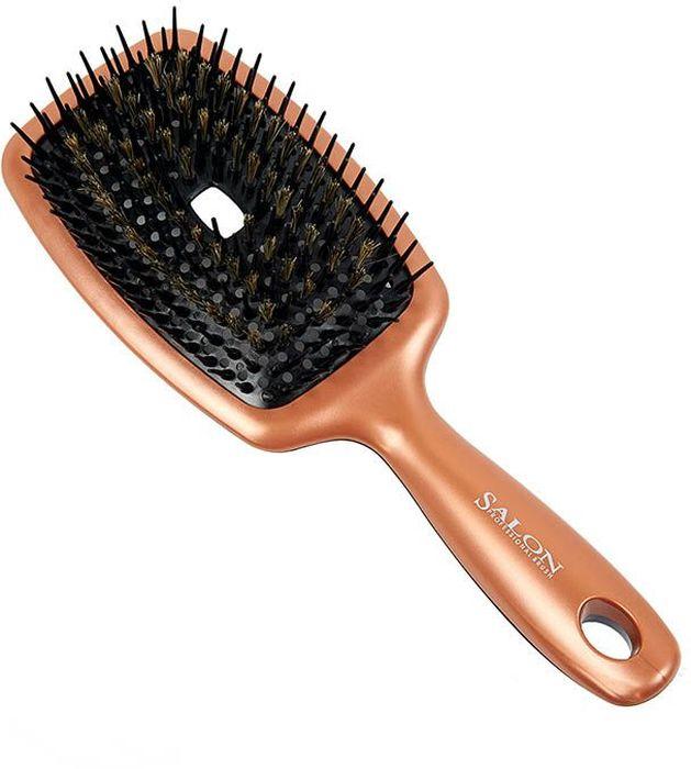 Щетка для волос массажная Salon Professional 8Н159, пластиковая, продувная, зубцы - натуральная щетина + нейлоновые штифты, L 250 мм333-8H159Благодаря комбинации натуральной щетины, нейлоновых штифтов и продувной форме, модели этой коллекции можно смело рекомендовать людям с ослабленными и нарощенными волосами. Ведь расчёсывание щётками I-Flow Line комфортное и очень бережное.Способ применения:Равномерное и гладкое расчёсывание волос.