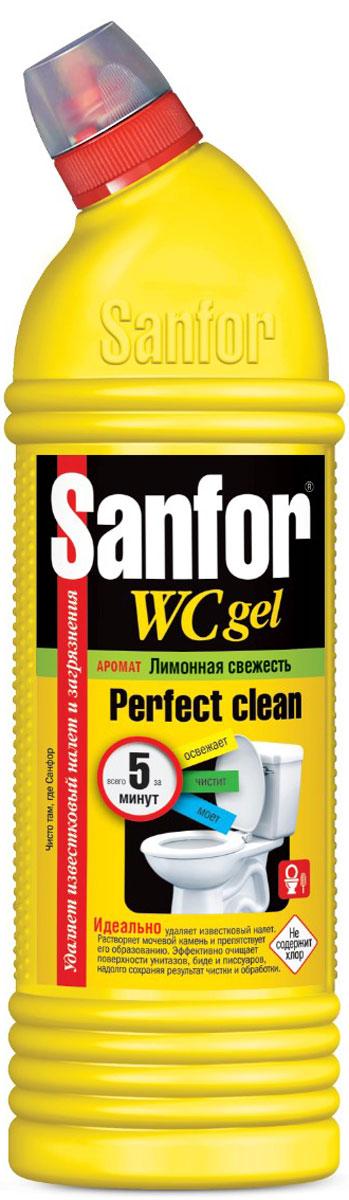 Гель универсальный для туалетной комнаты Sanfor Лимонная свежесть, 750 мл1550Универсальный гель Sanfor Лимонная свежесть идеально растворяет водный и мочевой камень и препятствует его образованию в унитазах, удаляет ржавчину и другие трудные загрязнения в туалете на длительное время. Гель можно использовать в ванной комнате и на кухне для удаления жировых пятен, плесени, мыльных потеков. Благодаря загущенной формуле равномерно распределяется и не стекает с наклонных поверхностей. Обеспечивает свежий запах. Подходит для уборки и дезинфекции туалетов для животных. Убивает микробы за 5 минут. Не содержит хлор, при этом специальная формула гарантирует хорошие чистящие и дезинфицирующие свойства. Антимикробные свойства подтверждены исследованиями, проведенными в лаборатории Бактерицид ЕНИ при ПГУ. Характеристики:Объем: 750 мл. Размер упаковки: 8 см х 6 см х 28 см. Артикул: 1550. Товар сертифицирован.Как выбрать качественную бытовую химию, безопасную для природы и людей. Статья OZON Гид