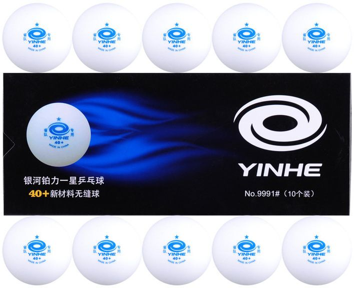 Шарики для пинг-понга Yinhe, без шва, 40+, цвет: белый, 10 шт. 9991-109991-10Мячи пластиковые Yinhe 40+ 1* без шва 10 шт. в кор.Уровень подготовки: для прогрессирующих
